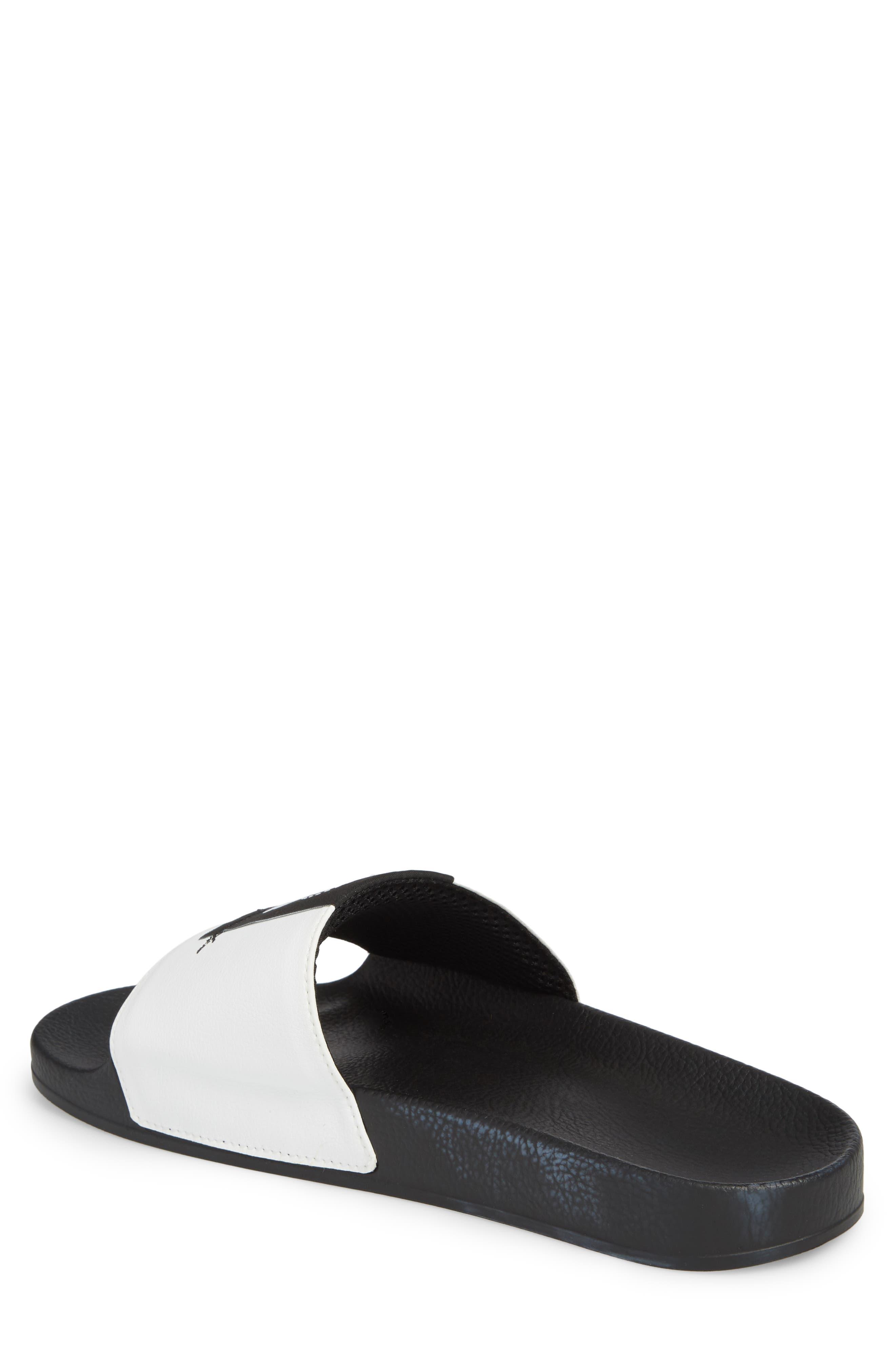 Adilette Slide Sandal,                             Alternate thumbnail 2, color,                             WHITE/ BLACK