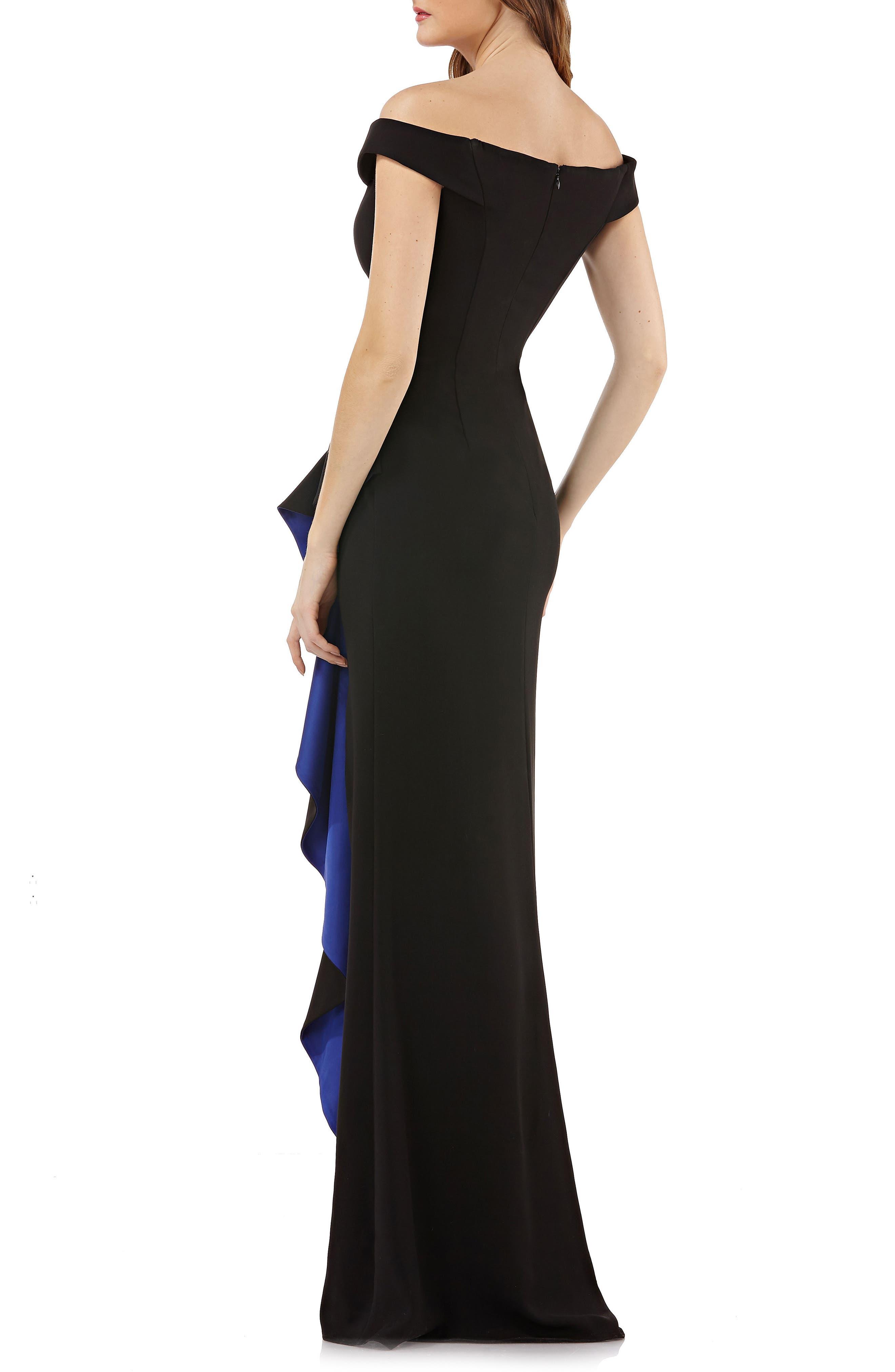 Ruffle Off the Shoulder Gown,                             Alternate thumbnail 2, color,                             BLACK/ COBALT