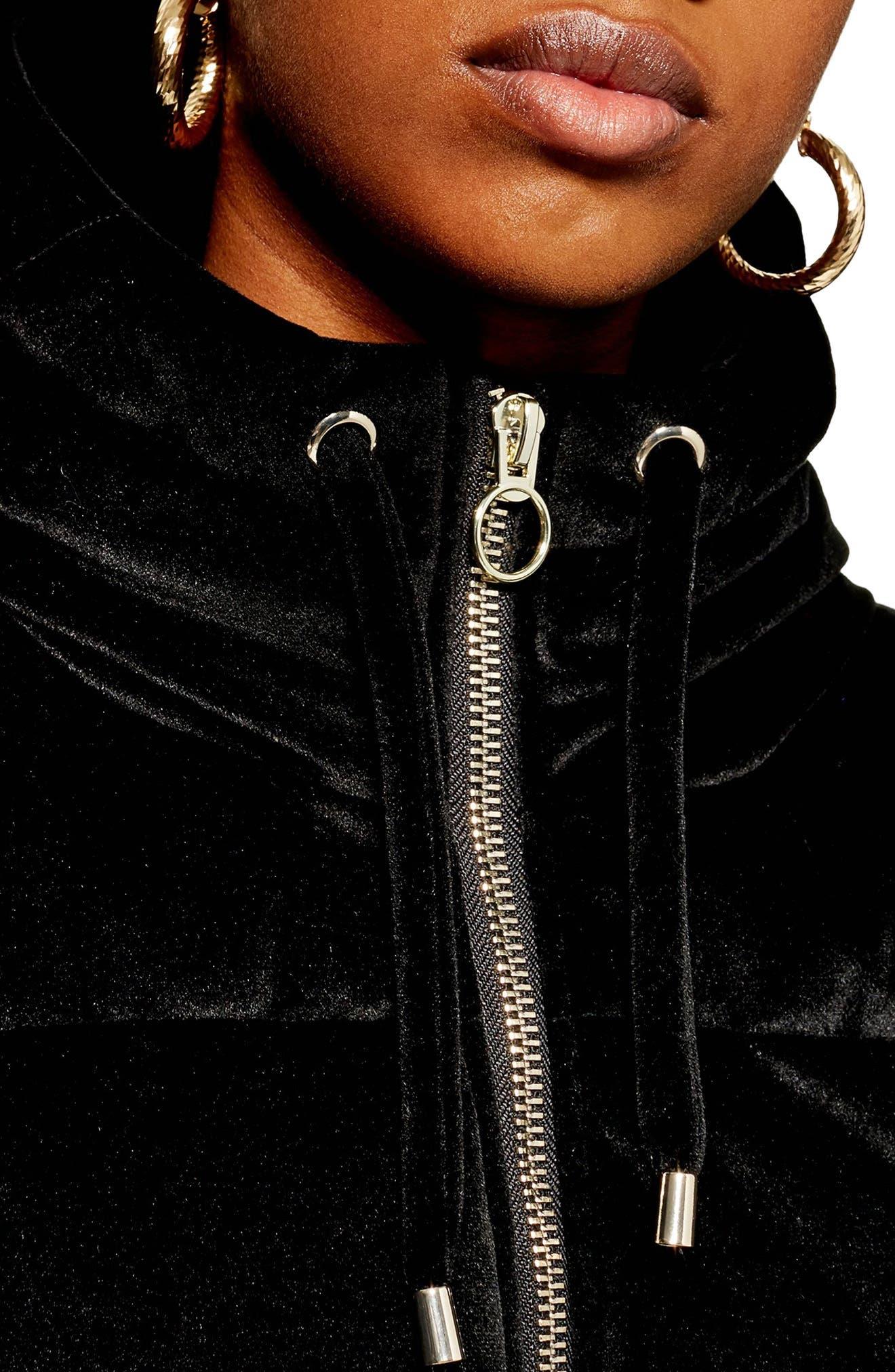 Velvet Puffer Jacket,                             Alternate thumbnail 3, color,                             001