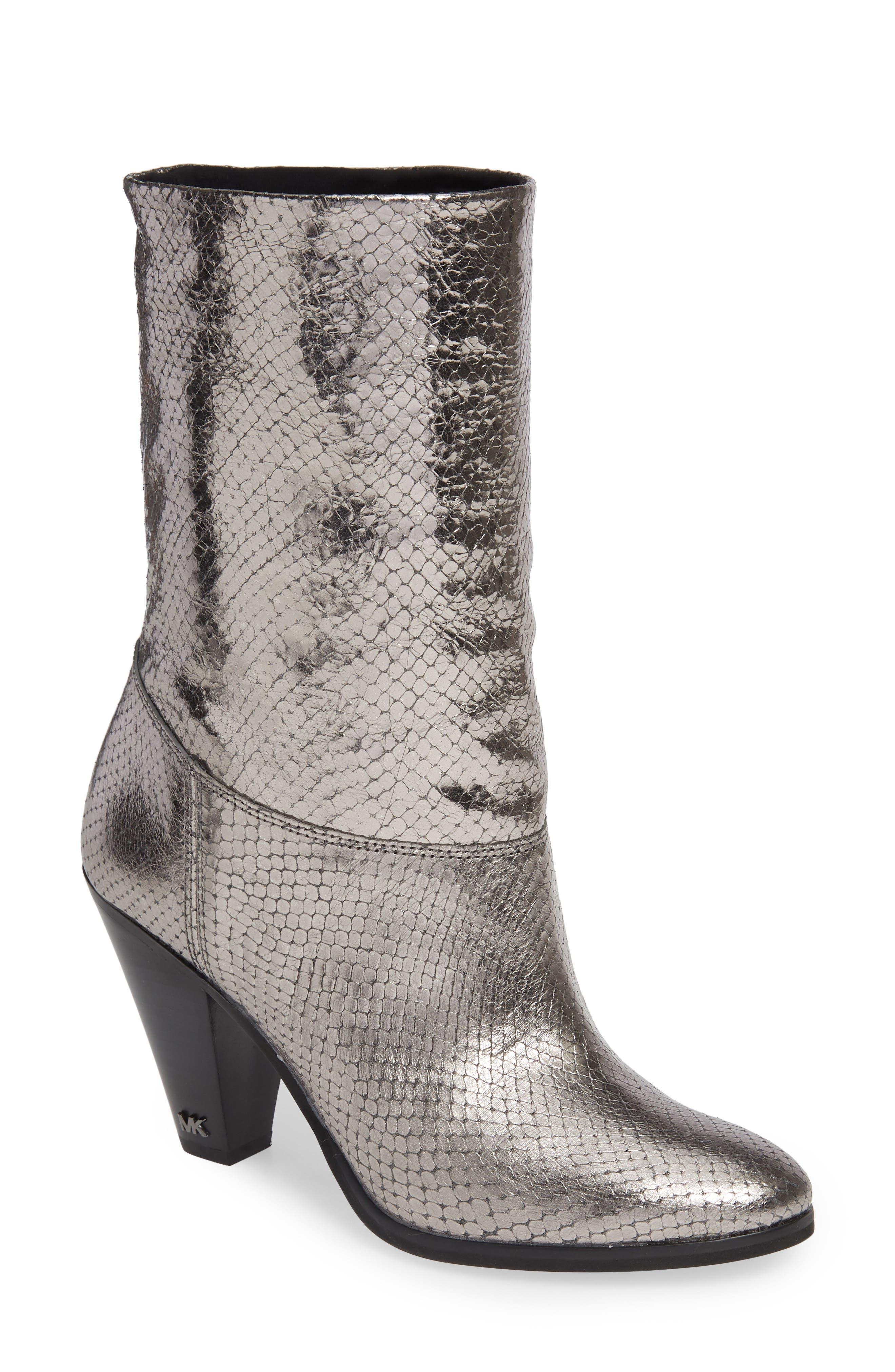 Divia Diamond Metallic Leather Mid-Calf Boots in Anthracite