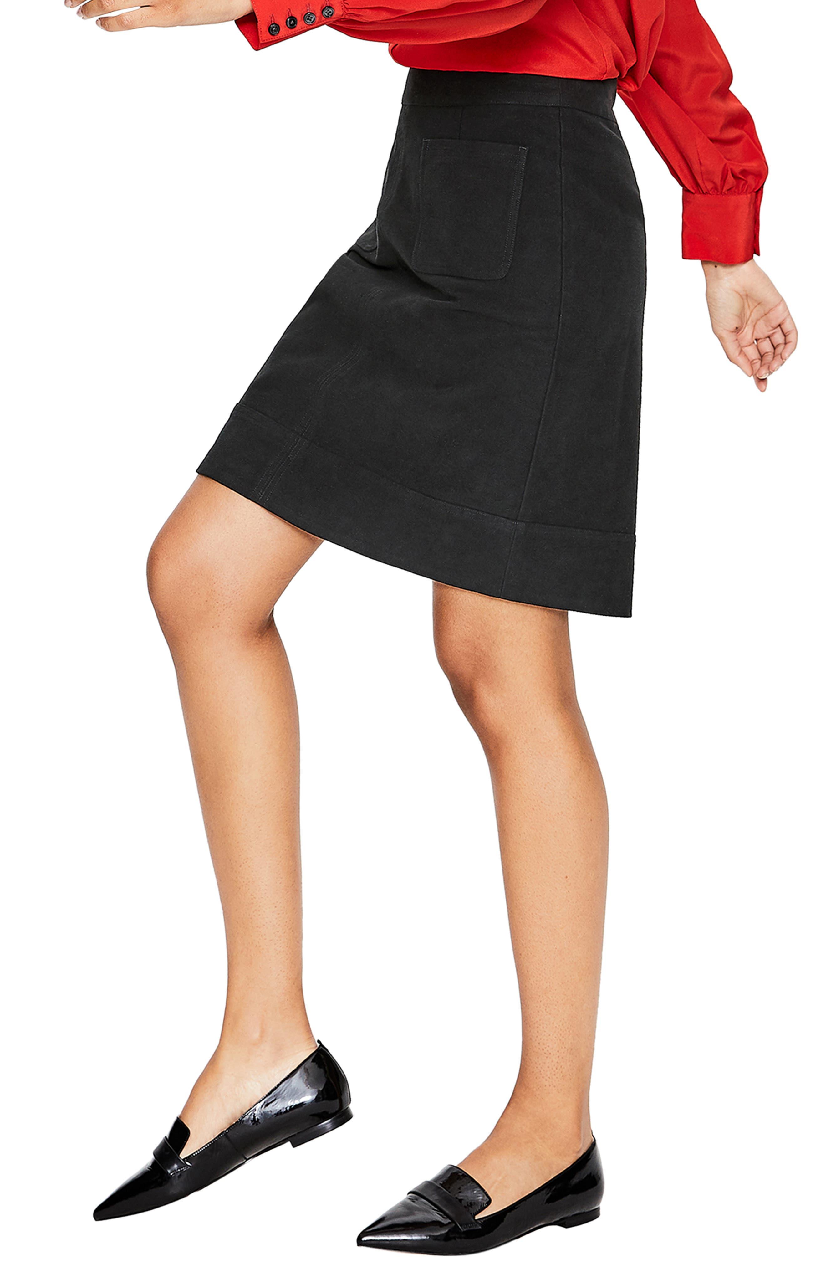 BODEN,                             Dorchester Patch Pocket Stretch Cotton Miniskirt,                             Alternate thumbnail 3, color,                             001