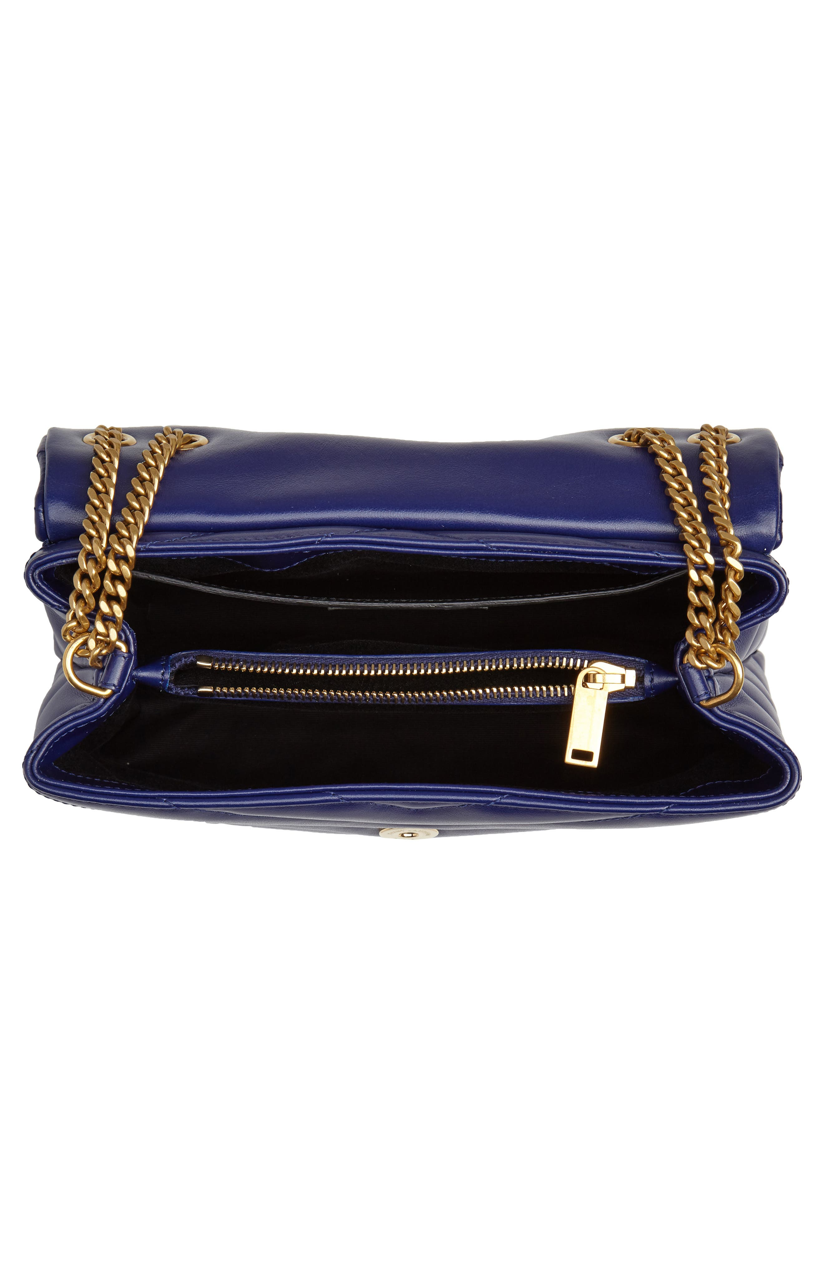 Small Loulou Leather Shoulder Bag,                             Alternate thumbnail 4, color,                             SAPHIR