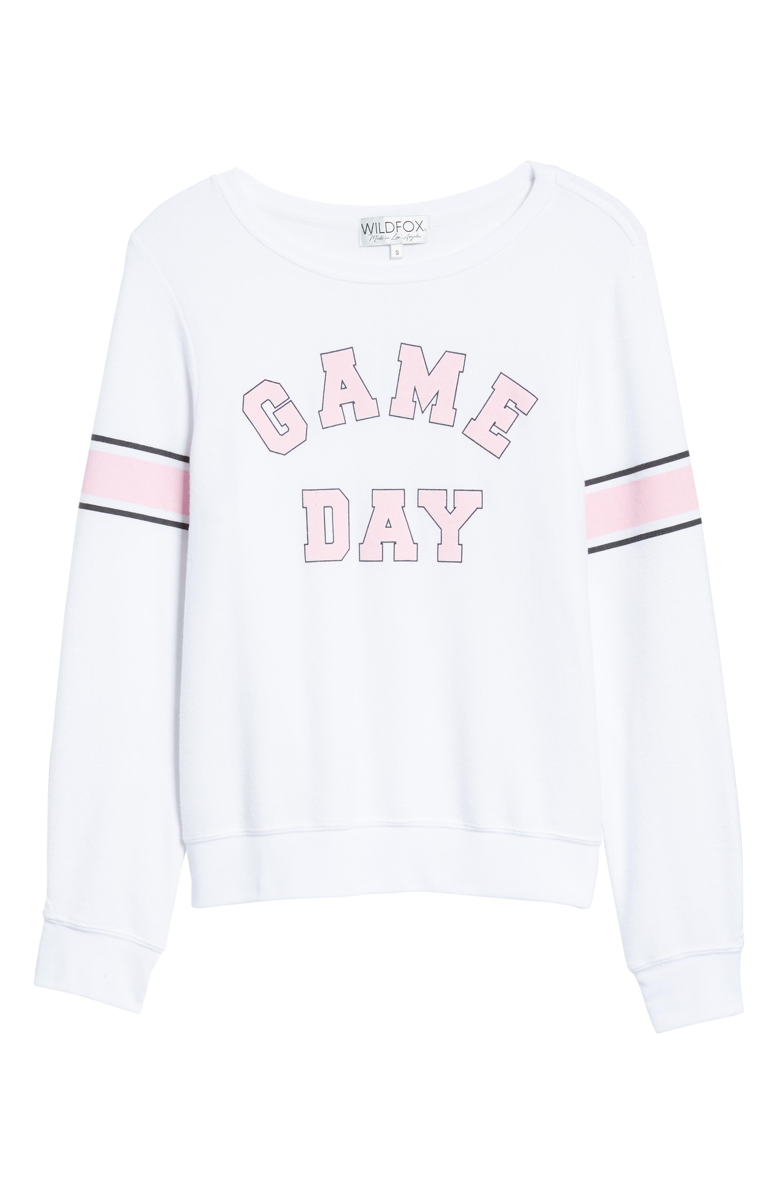 Game Day Baggy Beach Jumper Sweatshirt,                             Alternate thumbnail 6, color,                             CLEAN WHITE