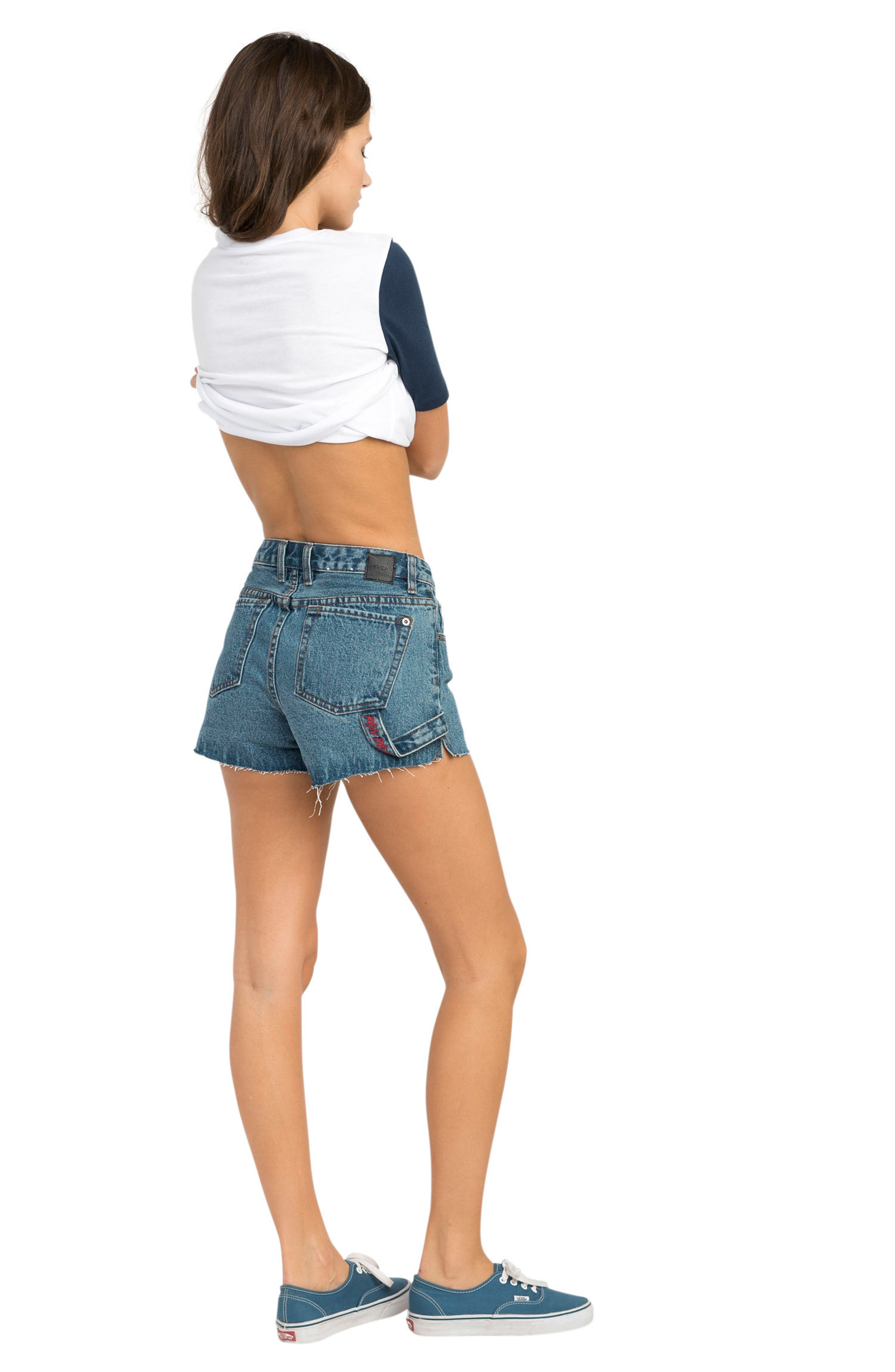 Highly Werked Raw Hem Denim Shorts,                             Alternate thumbnail 4, color,