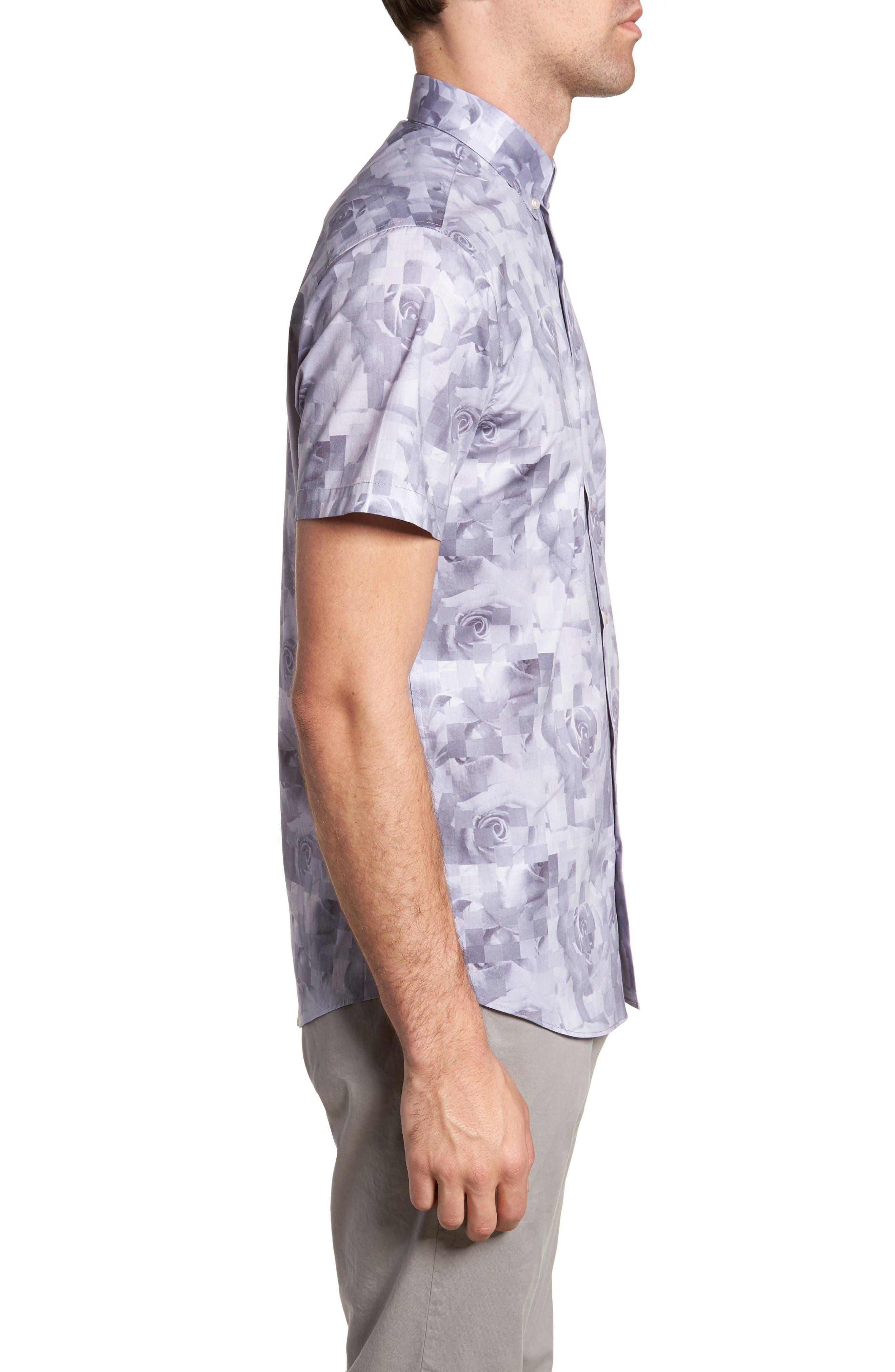 Trim Fit Rose Print Sport Shirt,                             Alternate thumbnail 3, color,                             PINK SILVER ROSE PRINT