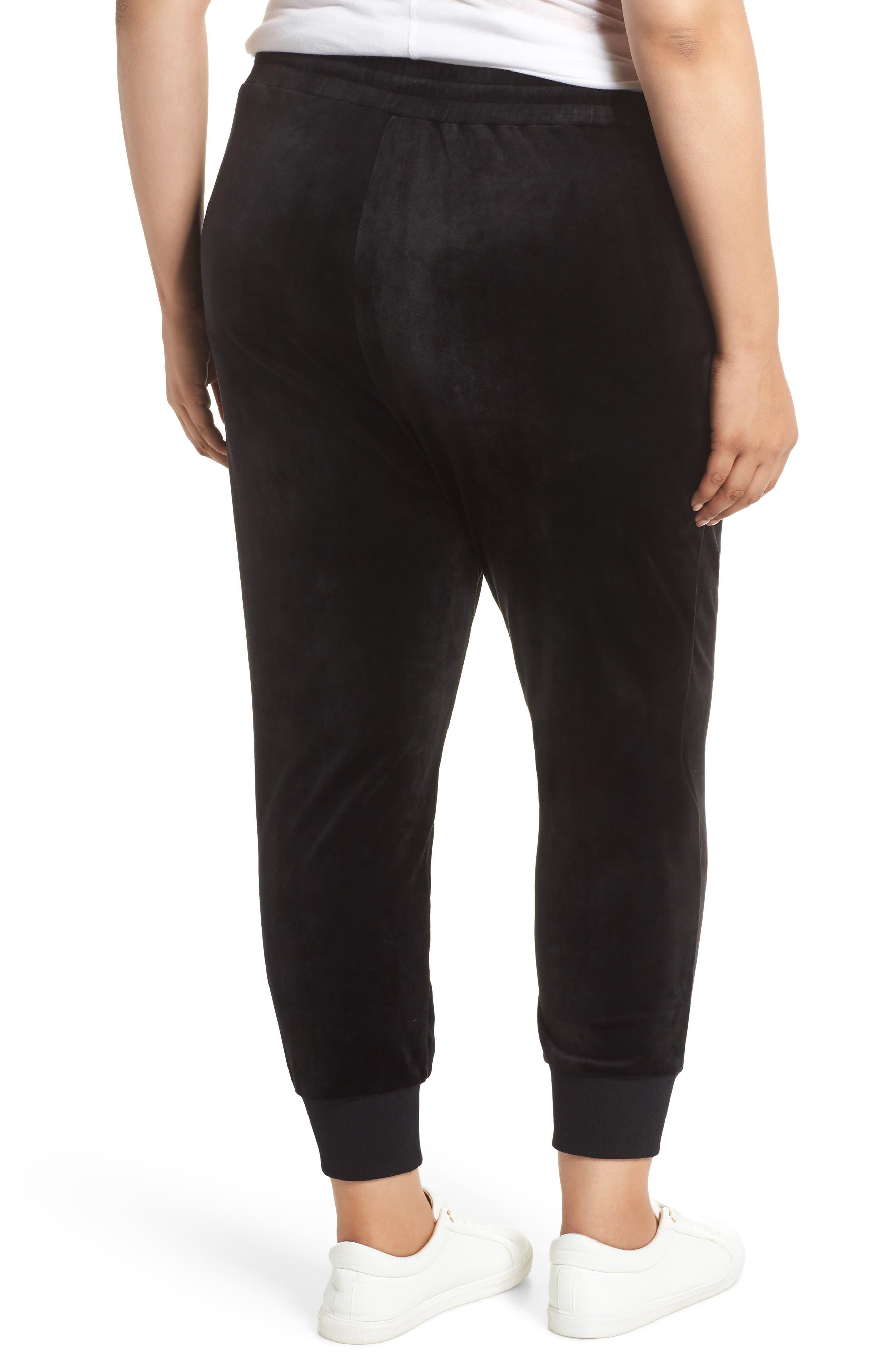 Off Duty High Rise Velour Jogger Pants,                             Alternate thumbnail 2, color,                             BLACK