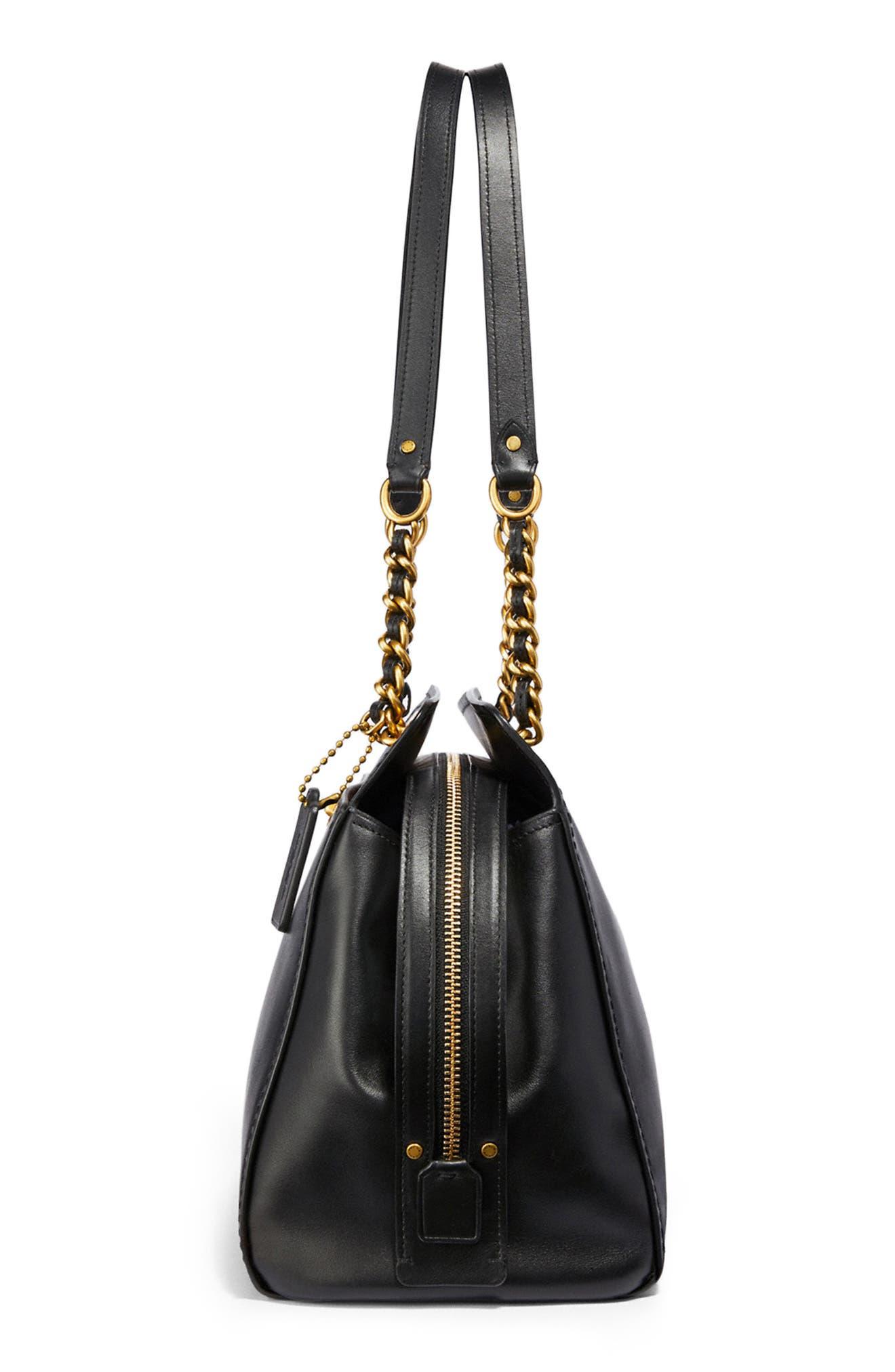 COACH,                             Parker Leather Shoulder Bag,                             Alternate thumbnail 4, color,                             BLACK