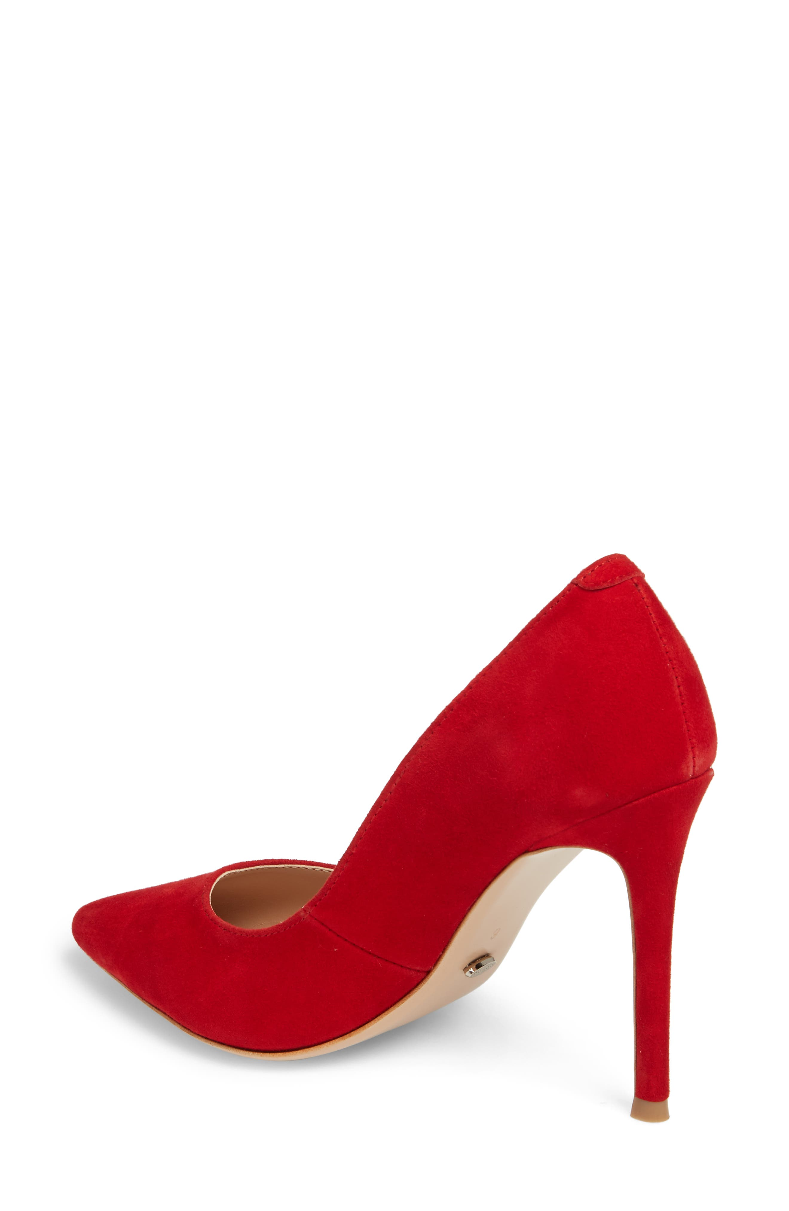 Lotus Pointy Toe Pump,                             Alternate thumbnail 2, color,                             FIRE SUEDE