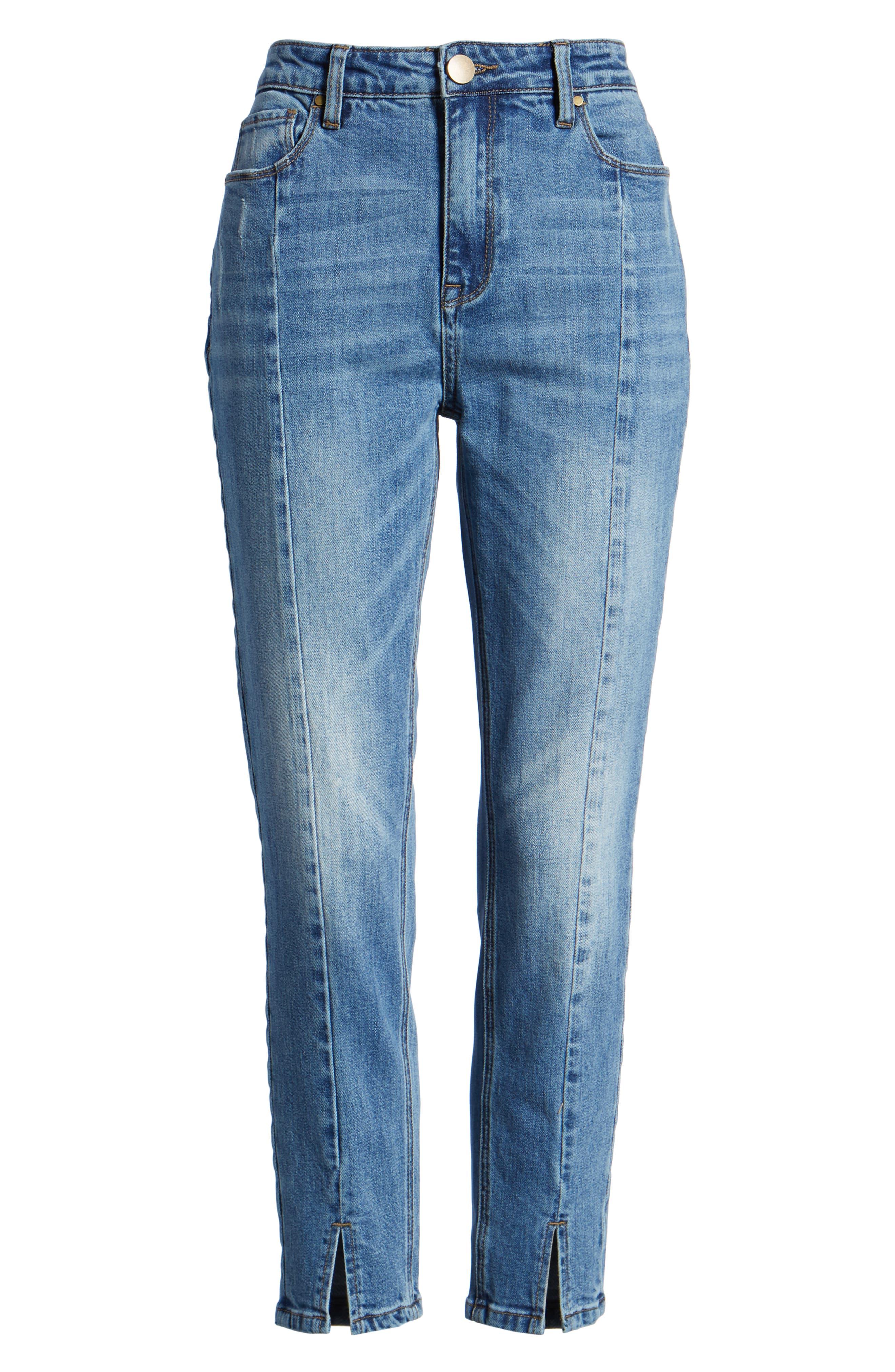 High Waist Ankle Slit Skinny Jeans,                             Alternate thumbnail 7, color,