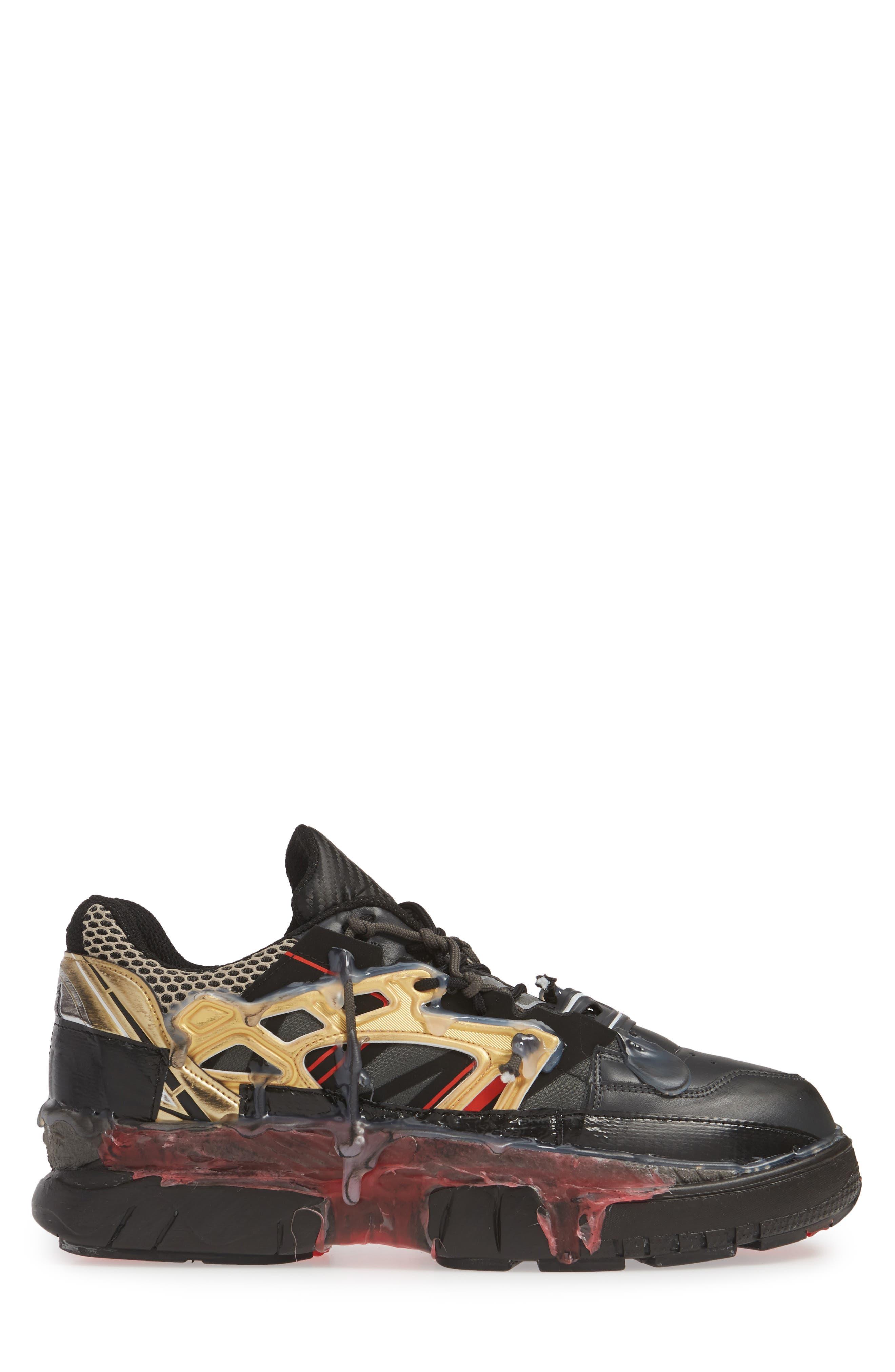 MM6 MAISON MARGIELA,                             Maison Margiela Fusion Sneaker,                             Alternate thumbnail 3, color,                             BLACK/ GOLD/ RED