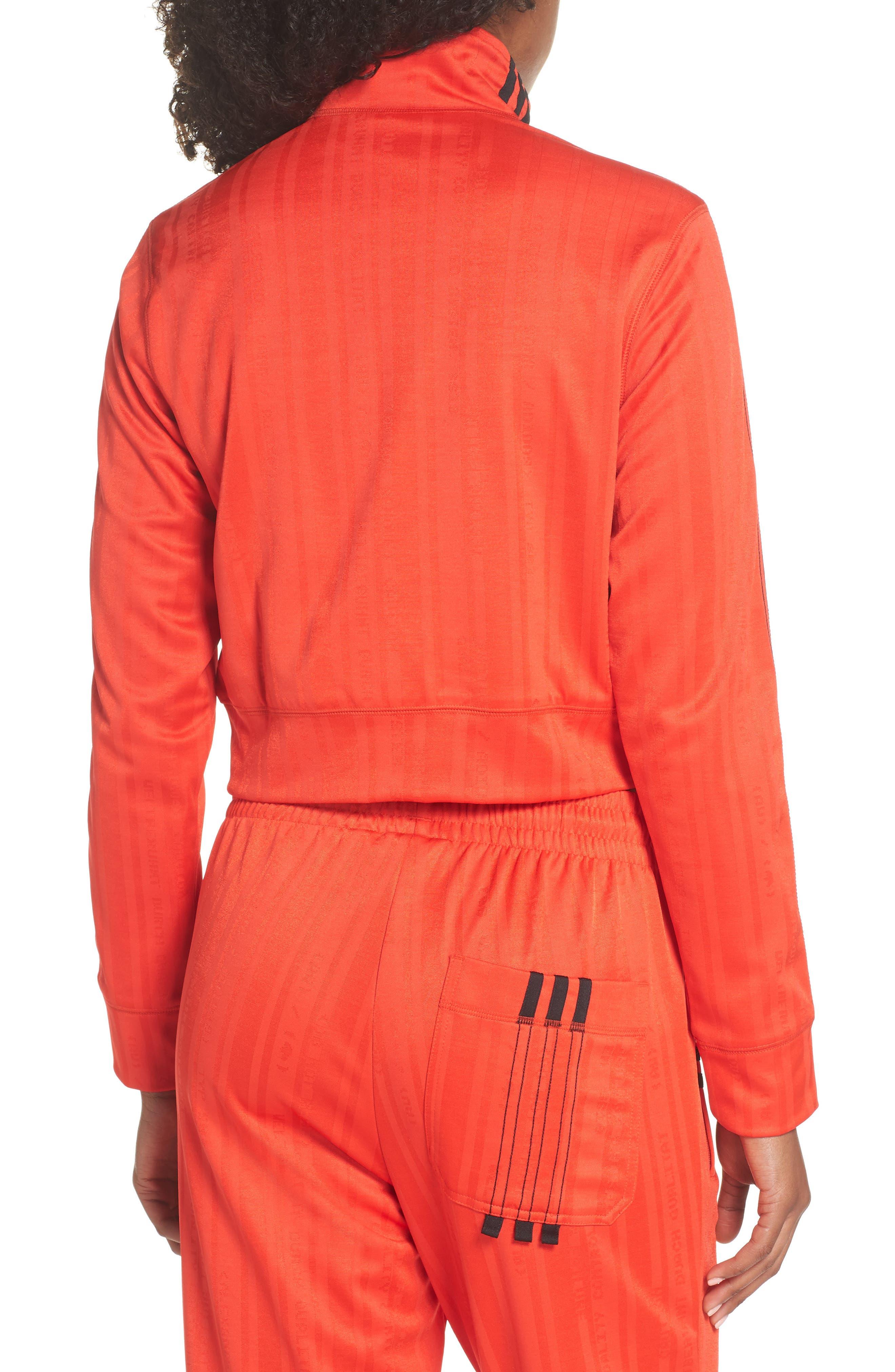 Crop Track Jacket,                             Alternate thumbnail 2, color,                             CORE RED/ BLACK