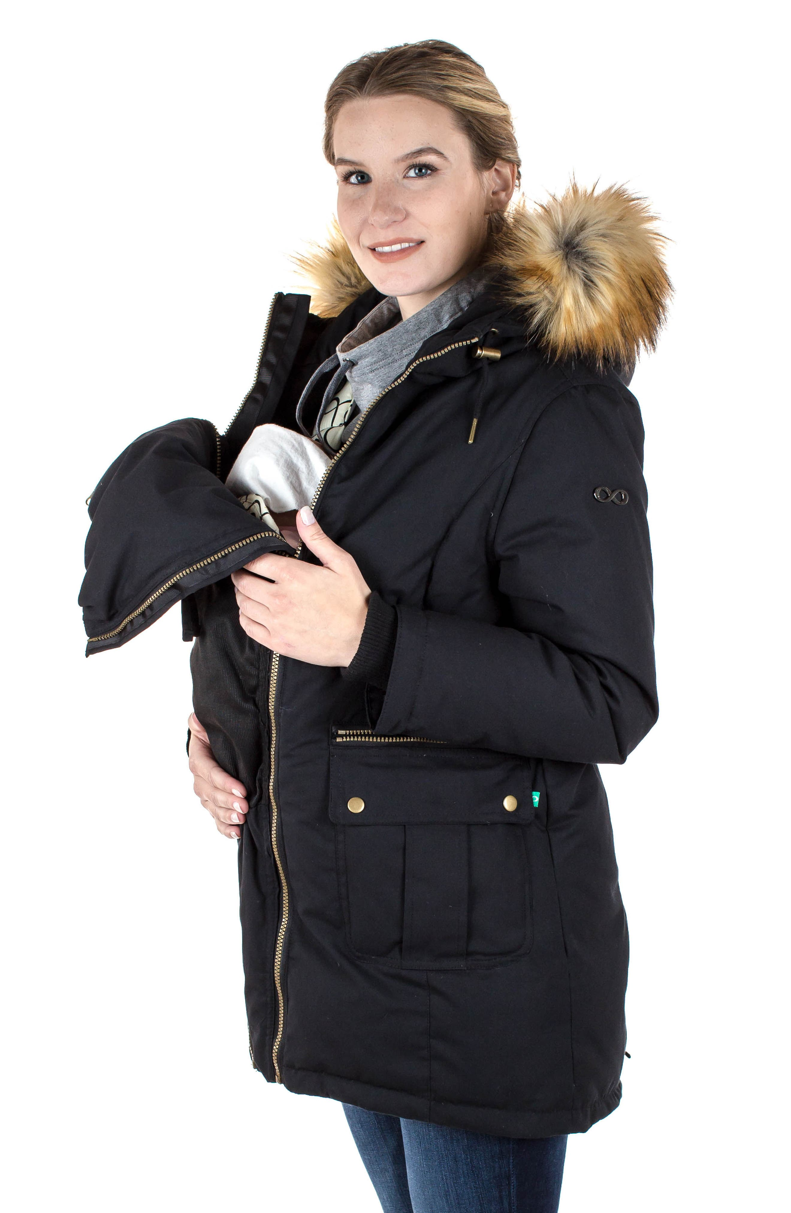 Convertible Down 3-in-1 Maternity Jacket,                             Alternate thumbnail 13, color,                             BLACK