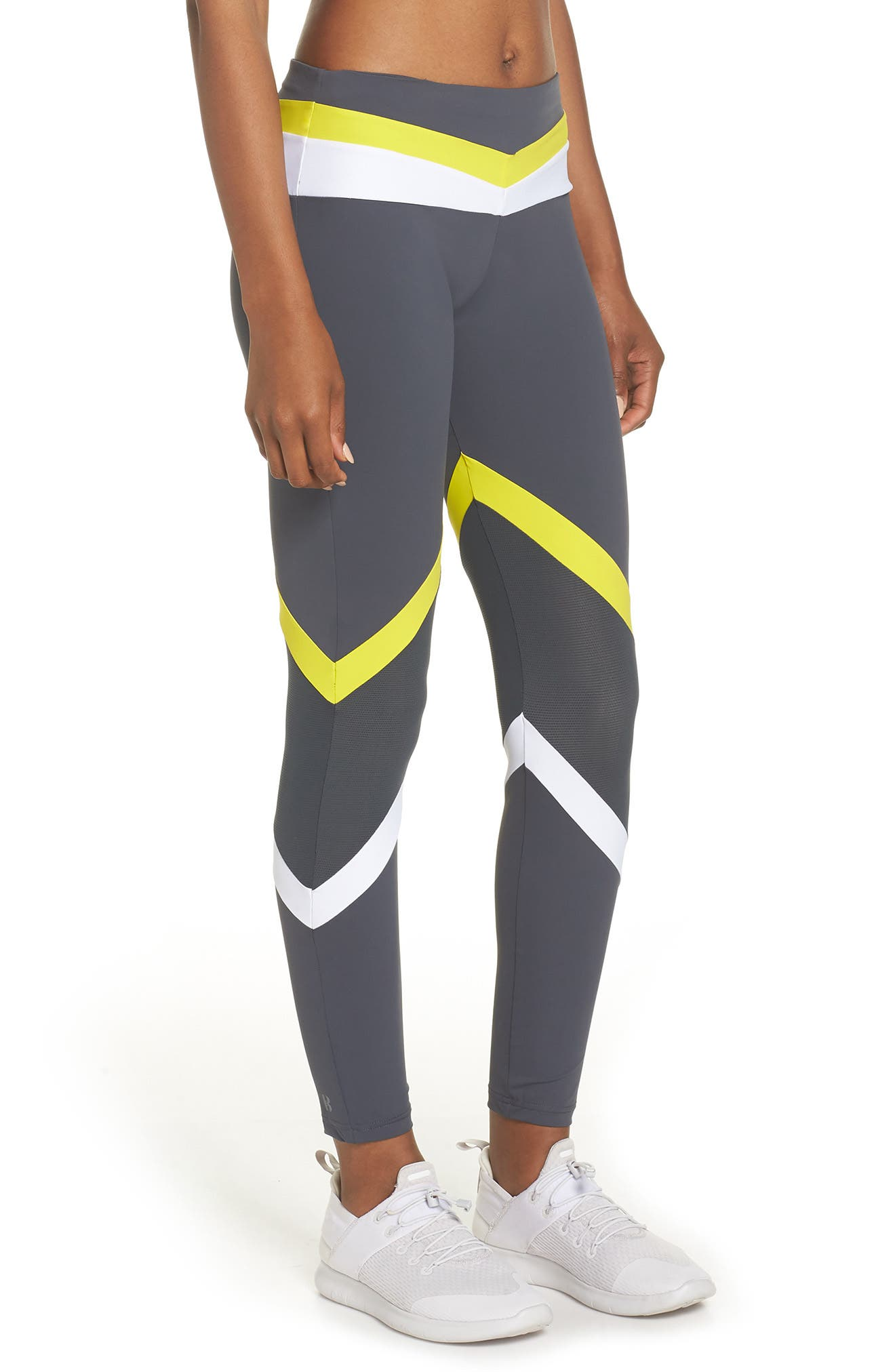 BoomBoom Athletica Tricolor Leggings,                             Alternate thumbnail 3, color,                             GREY/ WHITE/ YELLOW
