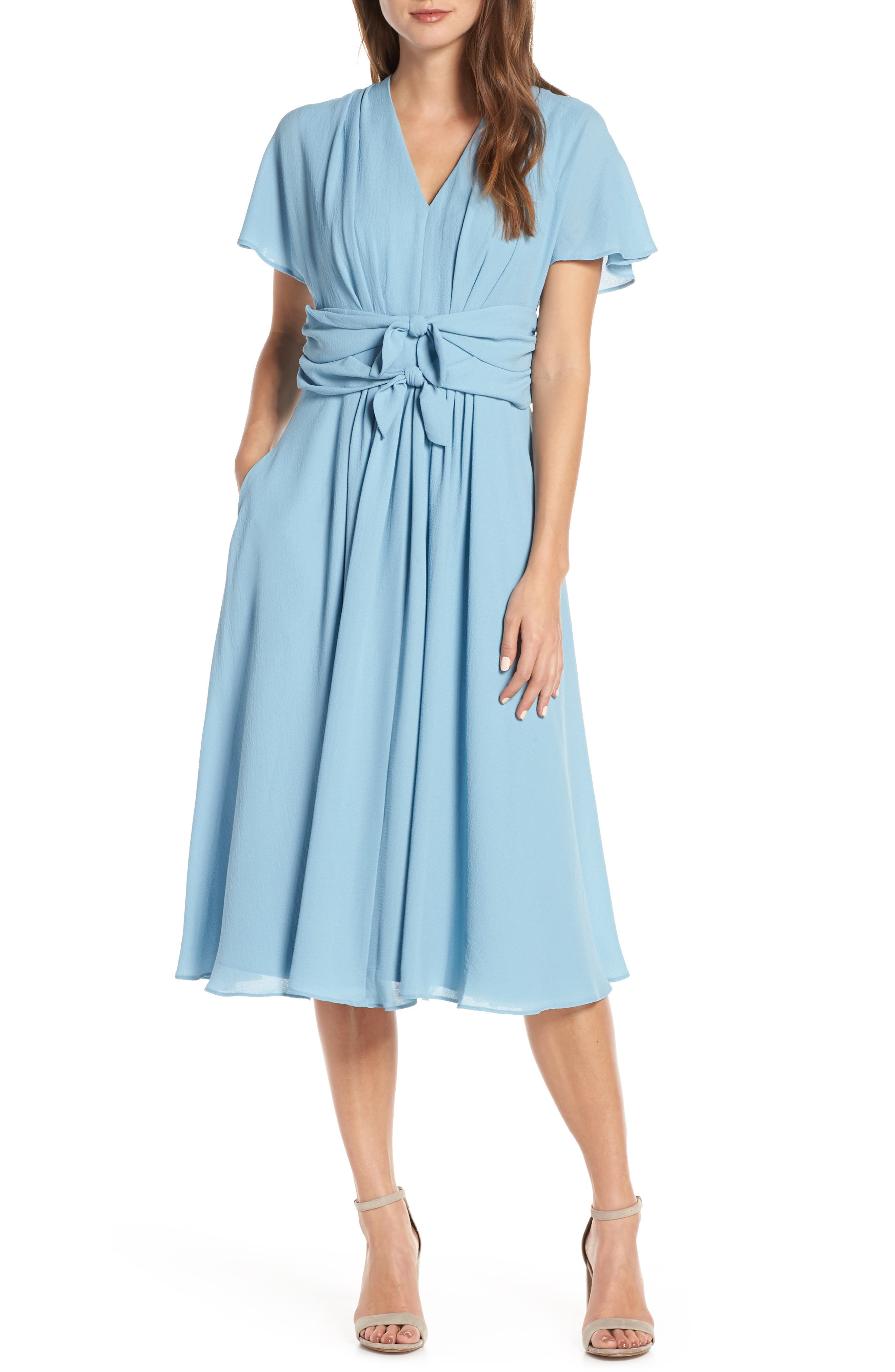 GAL MEETS GLAM COLLECTION Jane Tie Waist Midi Dress, Main, color, STEEL BLUE