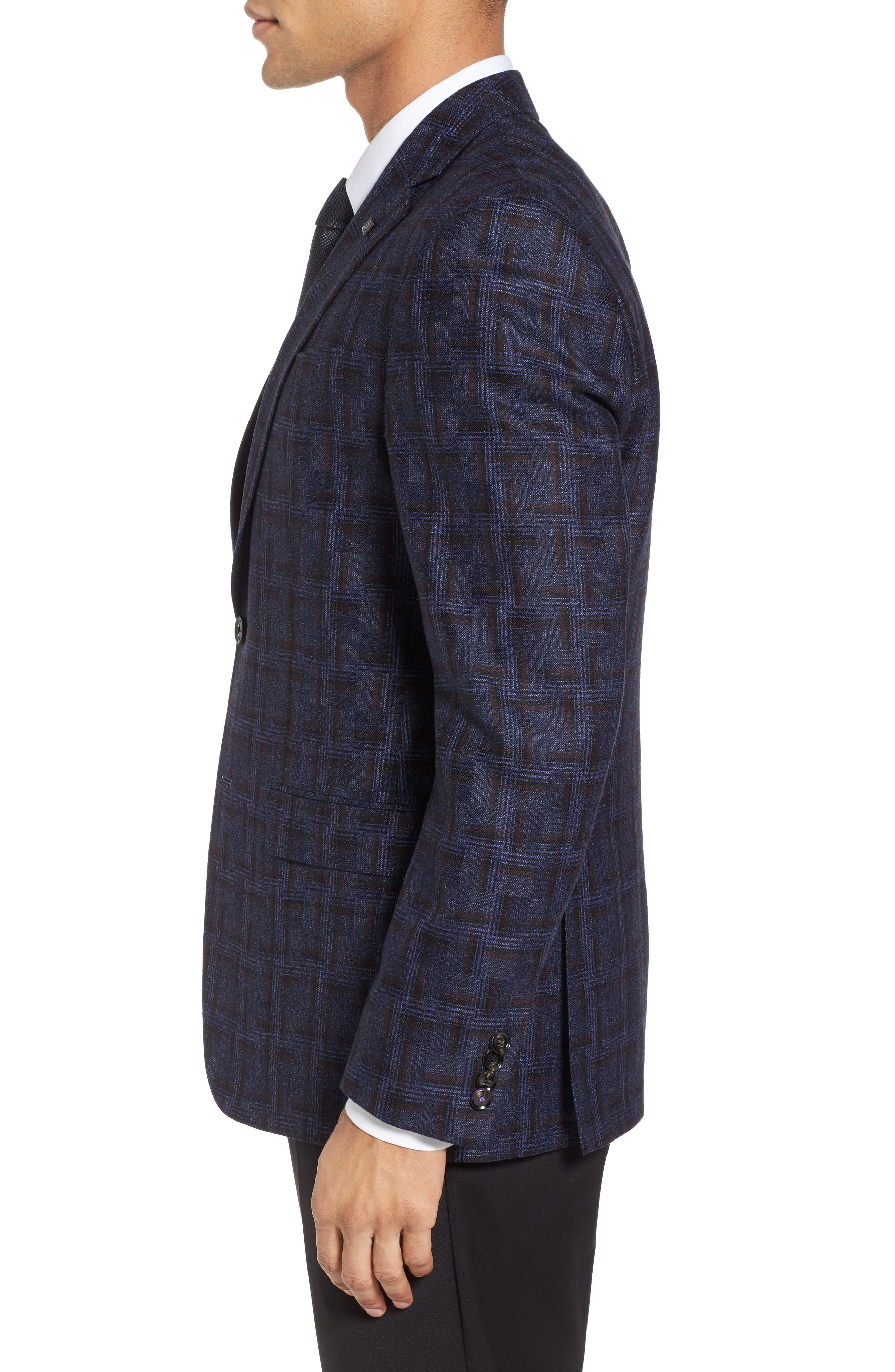 Jay Trim Fit Plaid Wool Sport Coat,                             Alternate thumbnail 3, color,