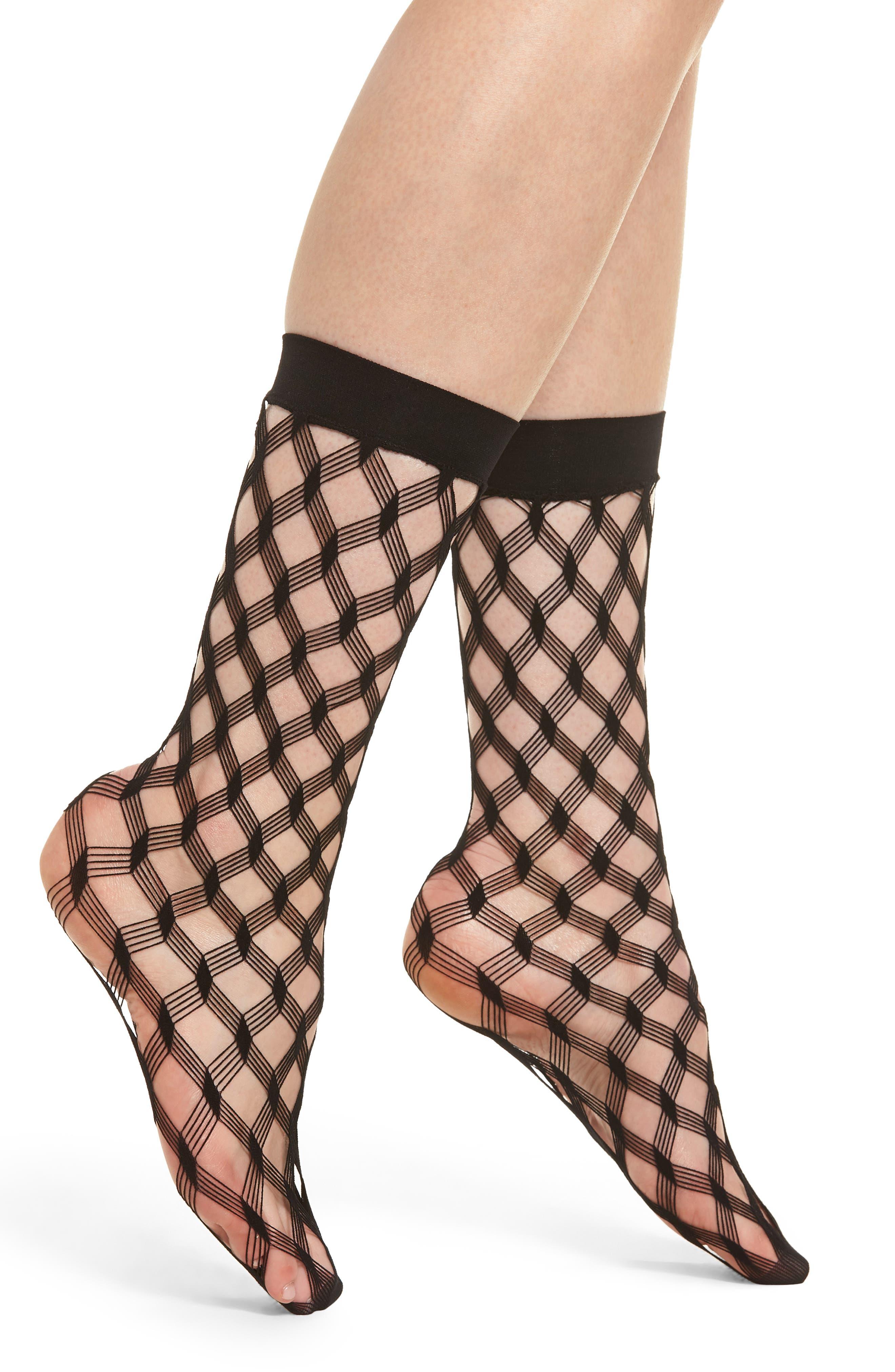 Multi Diamond Fishnet Crew Socks,                             Main thumbnail 1, color,                             001