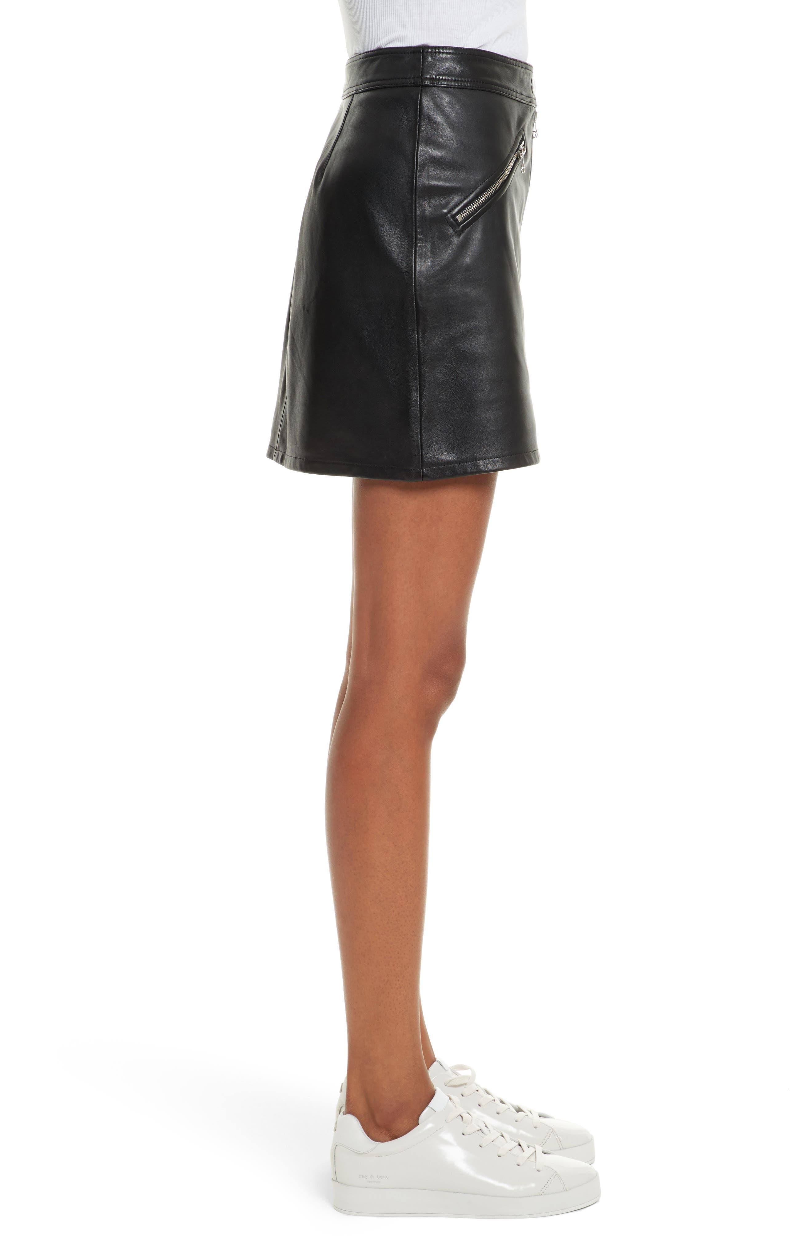 Racer Leather Miniskirt,                             Alternate thumbnail 3, color,                             002