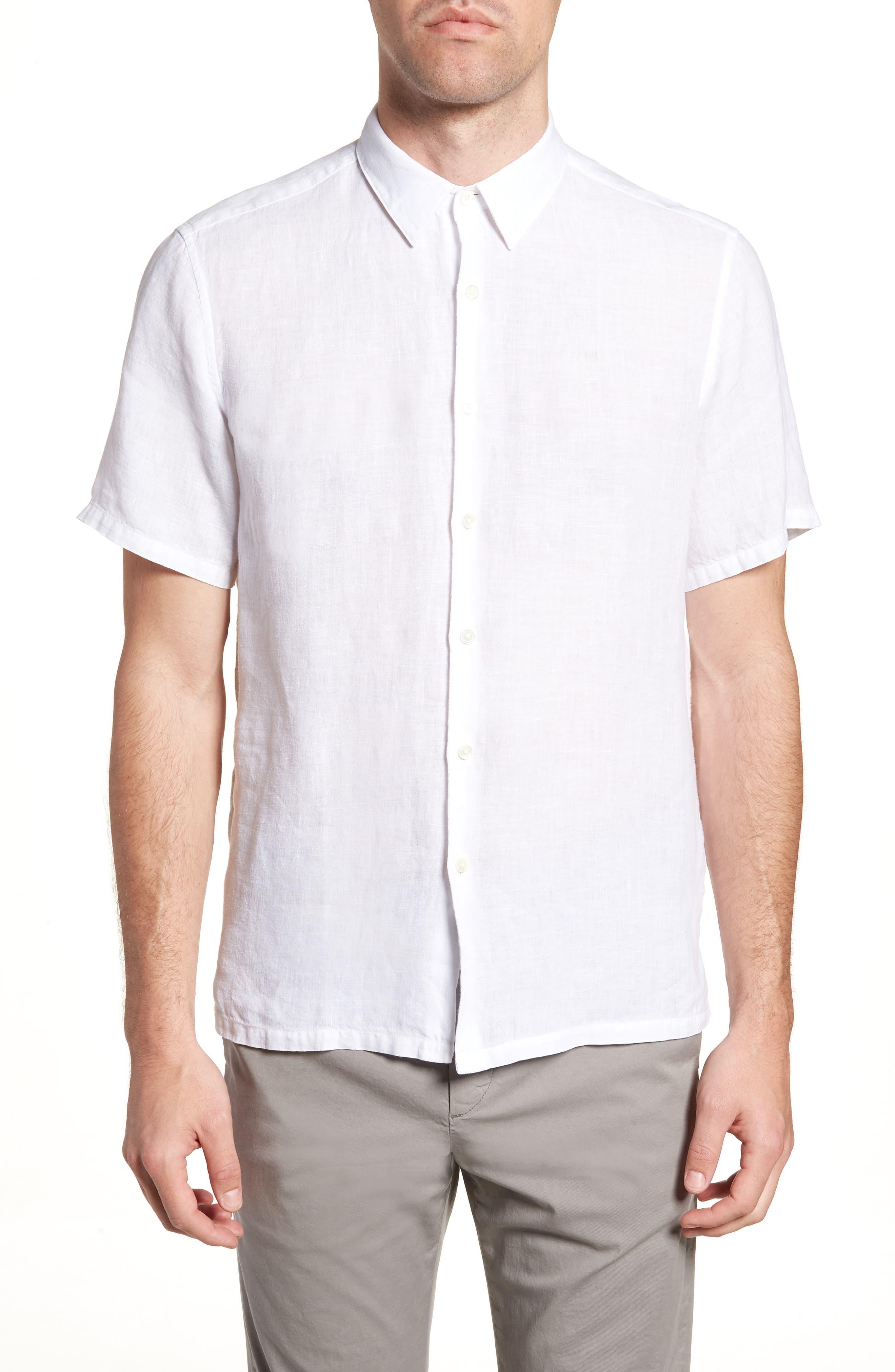 Irving Trim Fit Linen Short Sleeve Sport Shirt,                             Main thumbnail 1, color,                             100