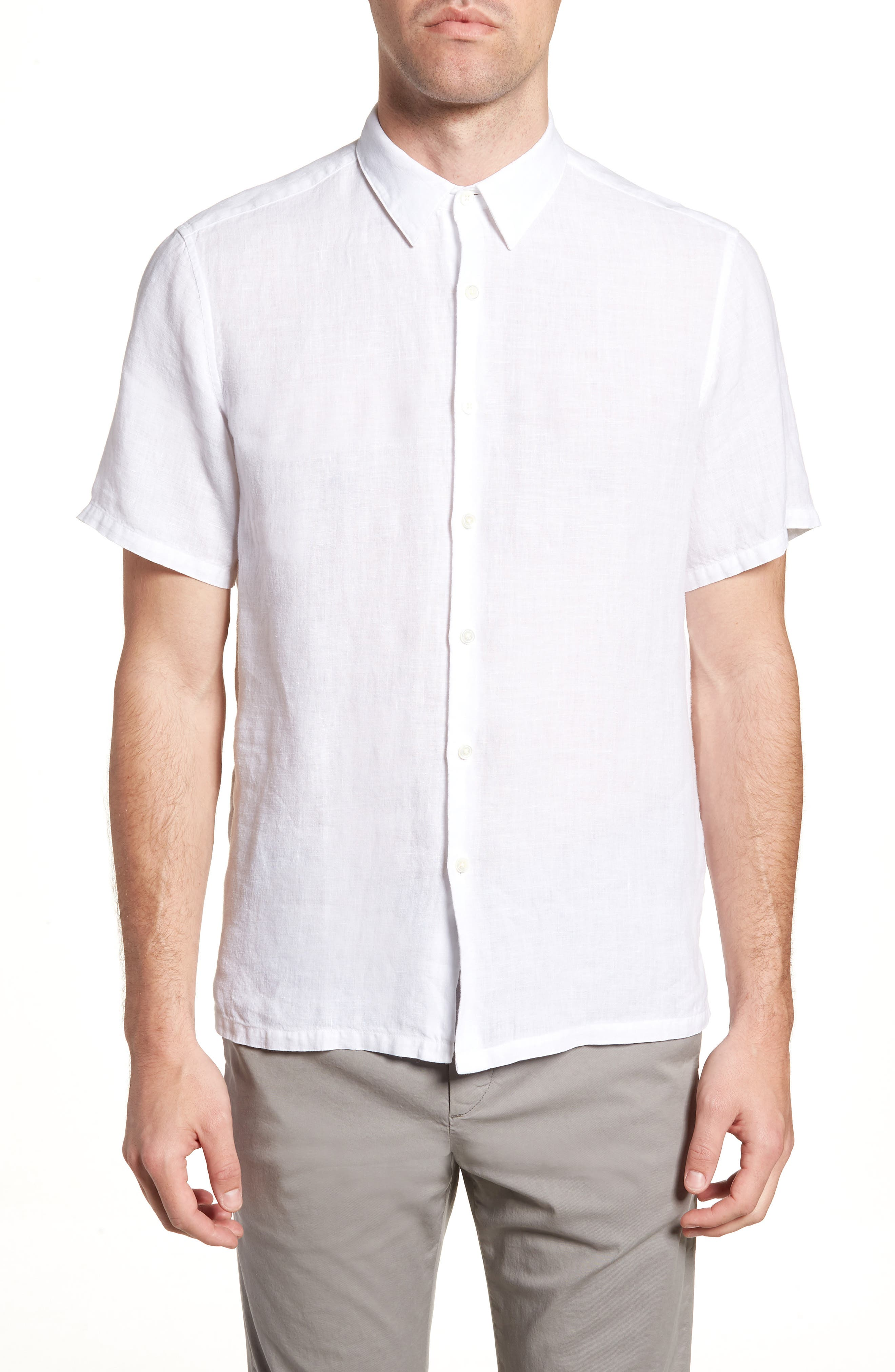 Irving Trim Fit Linen Short Sleeve Sport Shirt,                         Main,                         color, 100