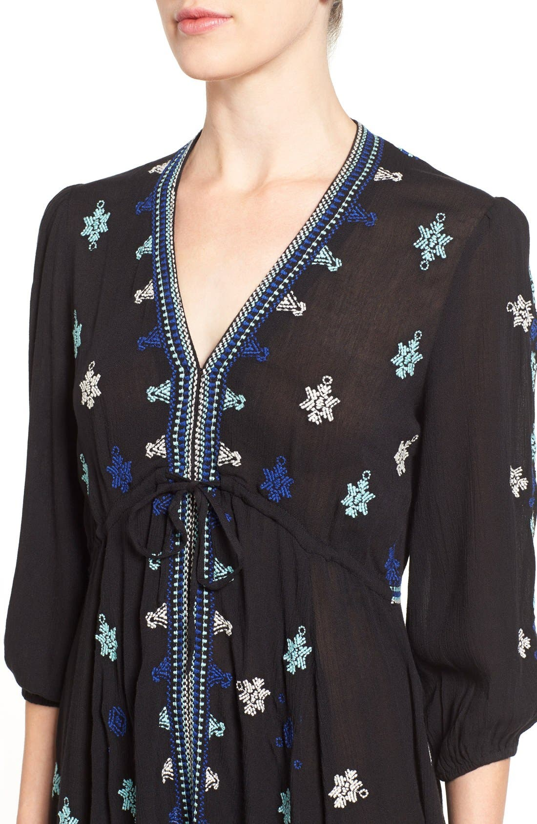 'Star Gazer' Embroidered Tunic Dress,                             Alternate thumbnail 5, color,                             001