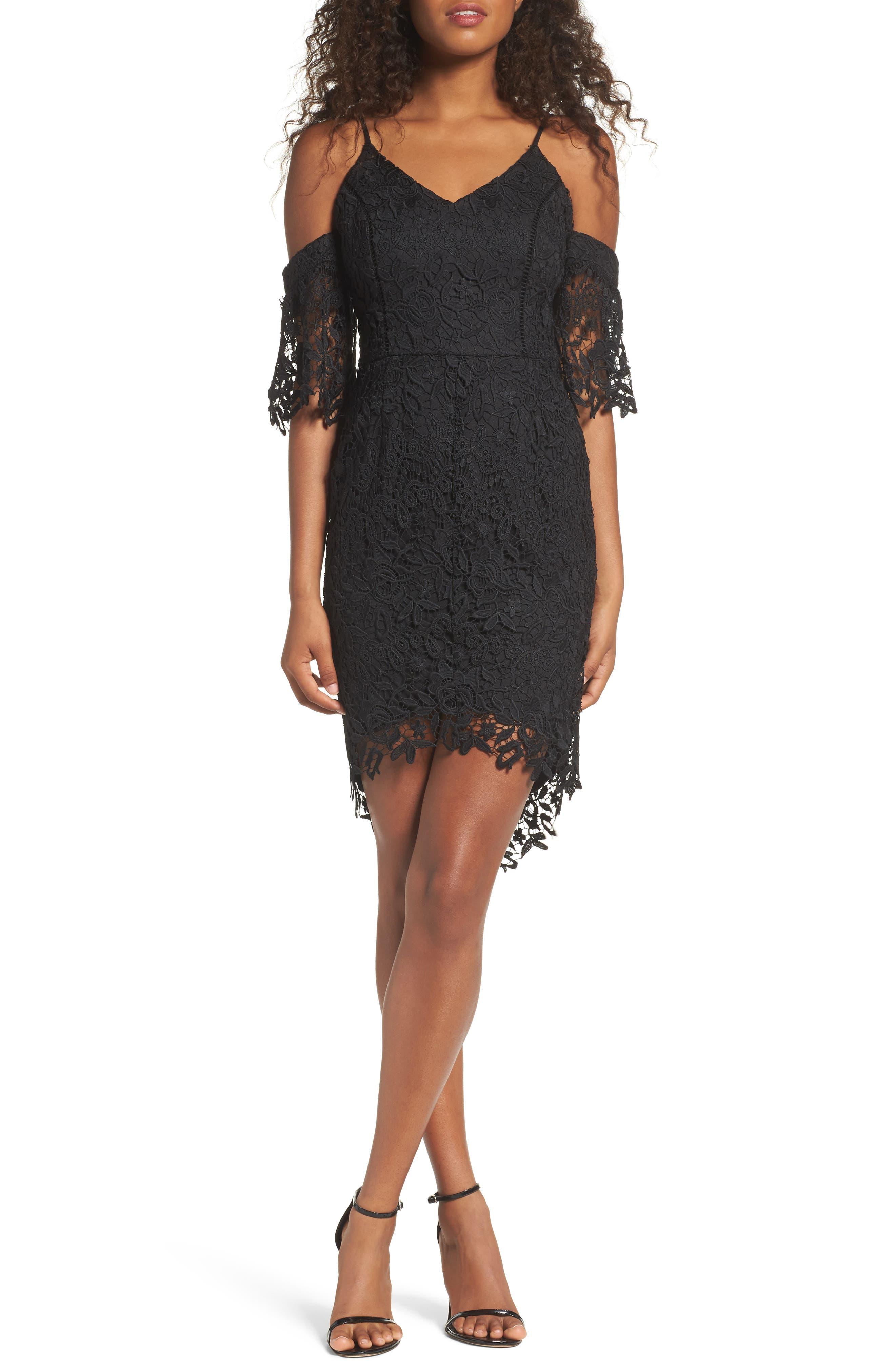 Krista Cold Shoulder Lace Sheath Dress,                             Main thumbnail 1, color,                             001