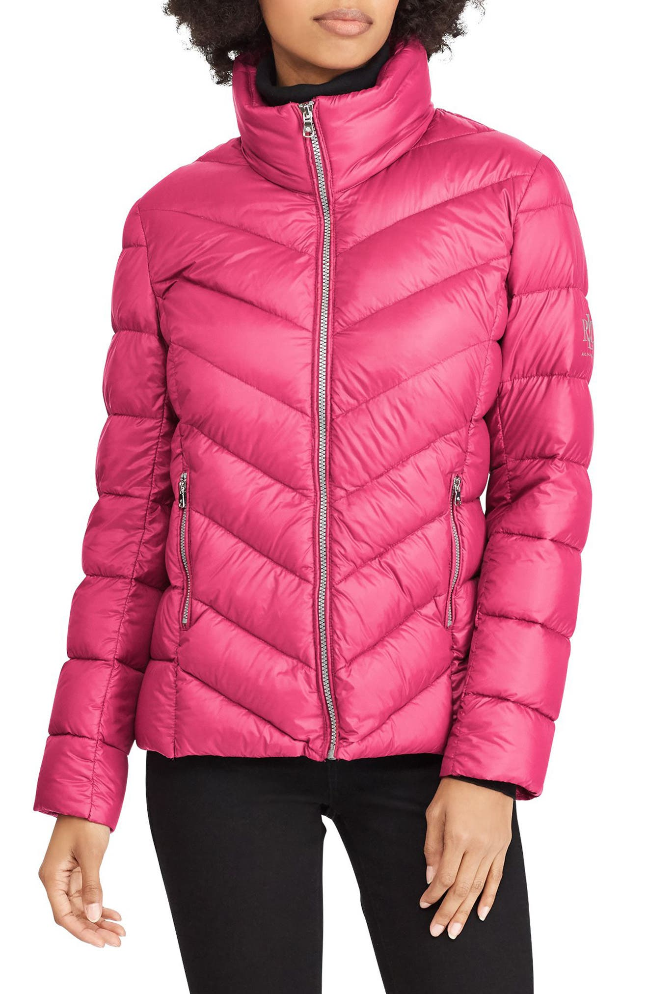 Lauren Ralph Lauren Chevron Quilted Packable Down Jacket, Red