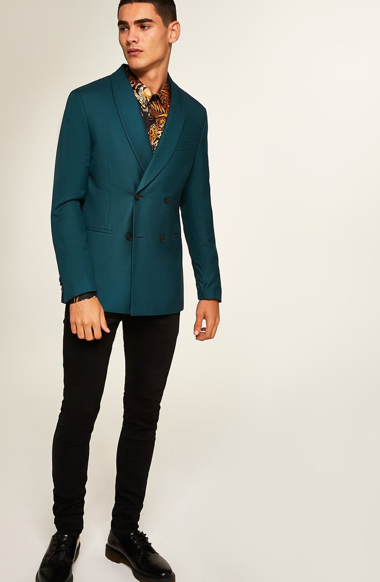 Skinny Fit Double Breasted Blazer,                             Alternate thumbnail 5, color,                             300