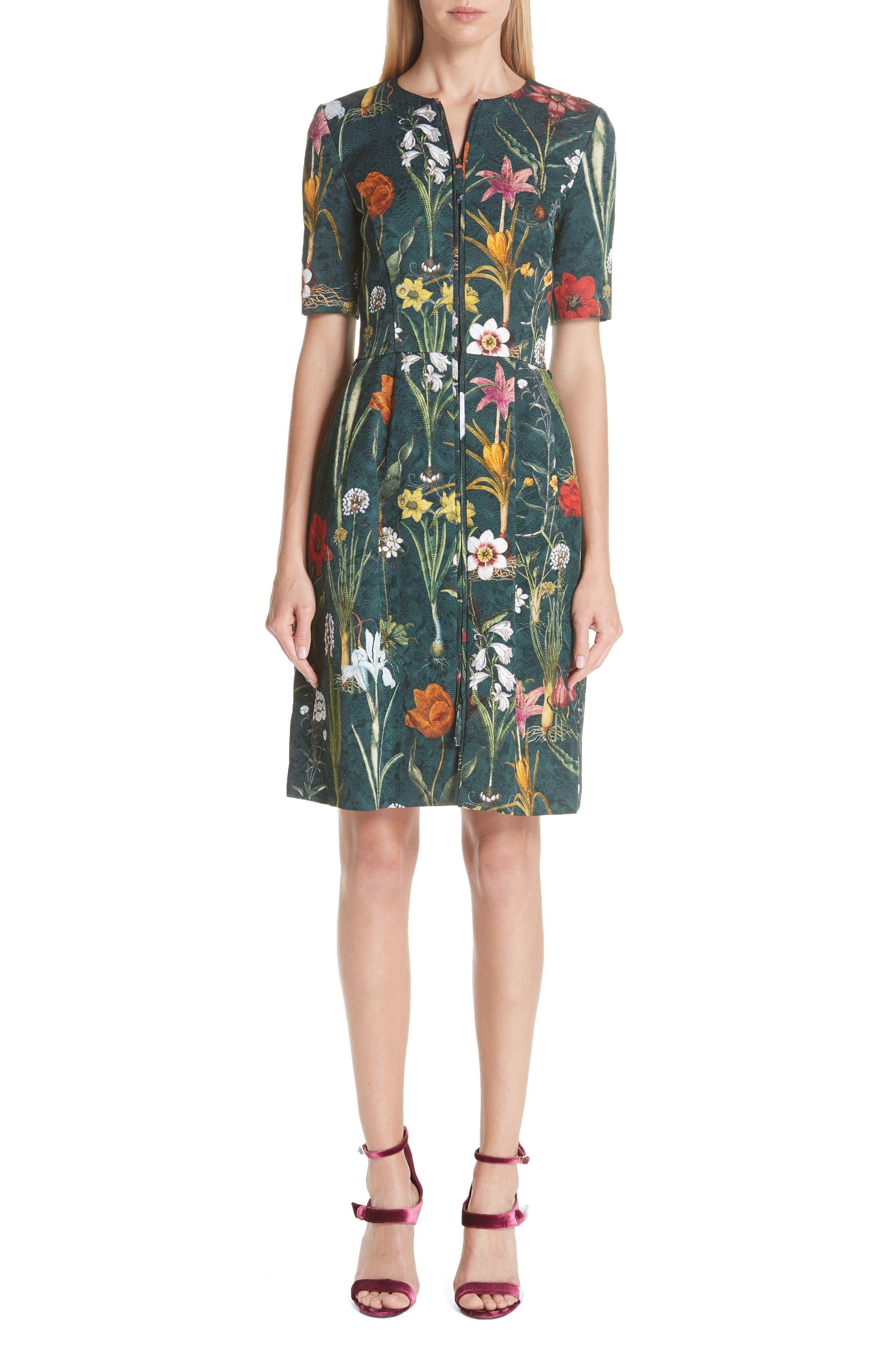 Oscar De La Renta Floral Harvest Cloque Dress, Green