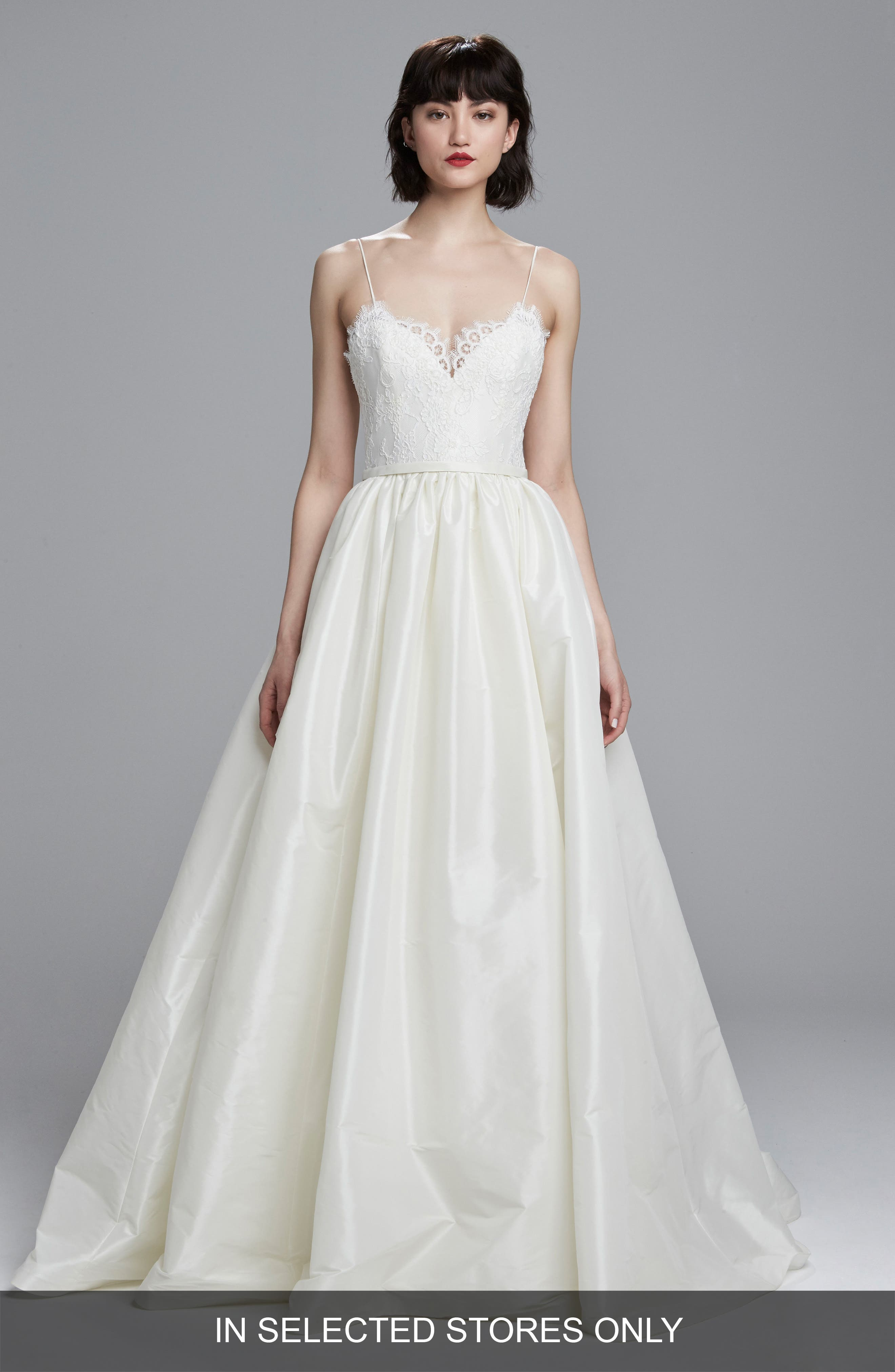 Carey Lace & Taffeta Ballgown,                         Main,                         color, IVORY