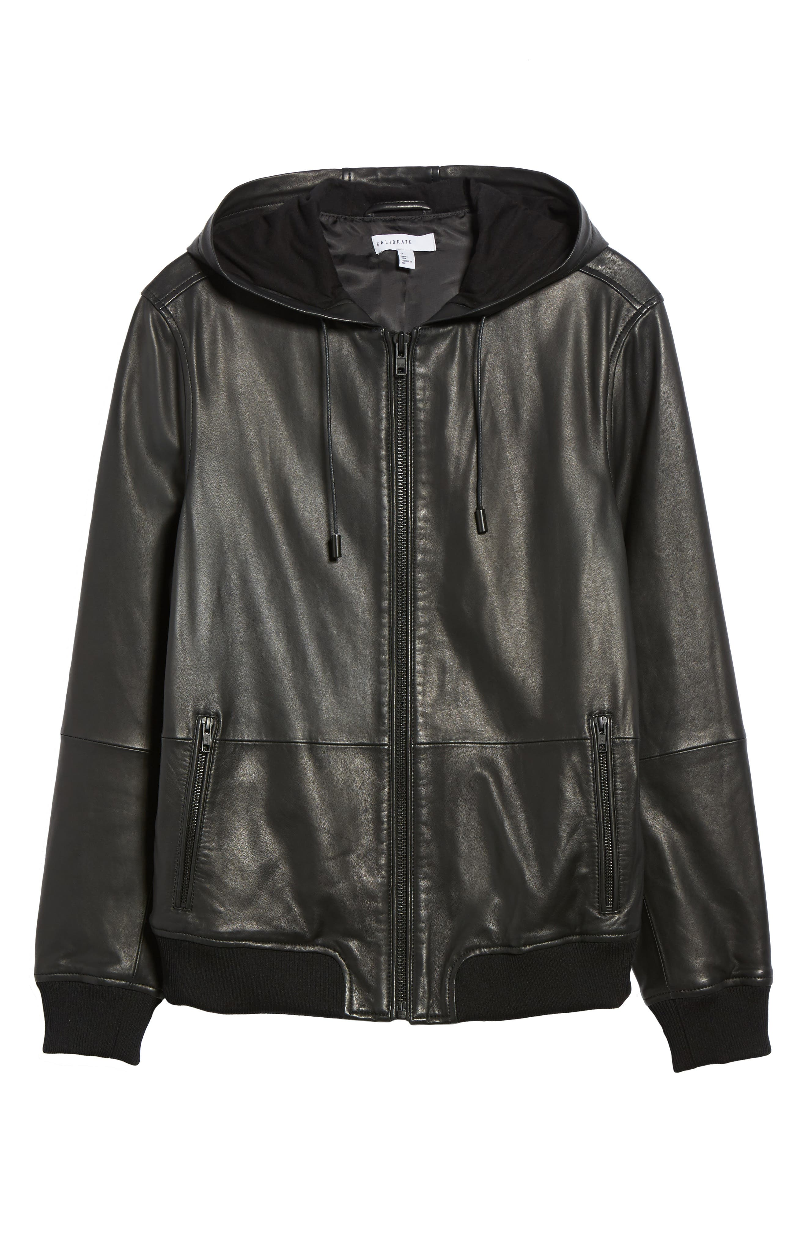 Hooded Leather Jacket,                             Alternate thumbnail 5, color,                             001