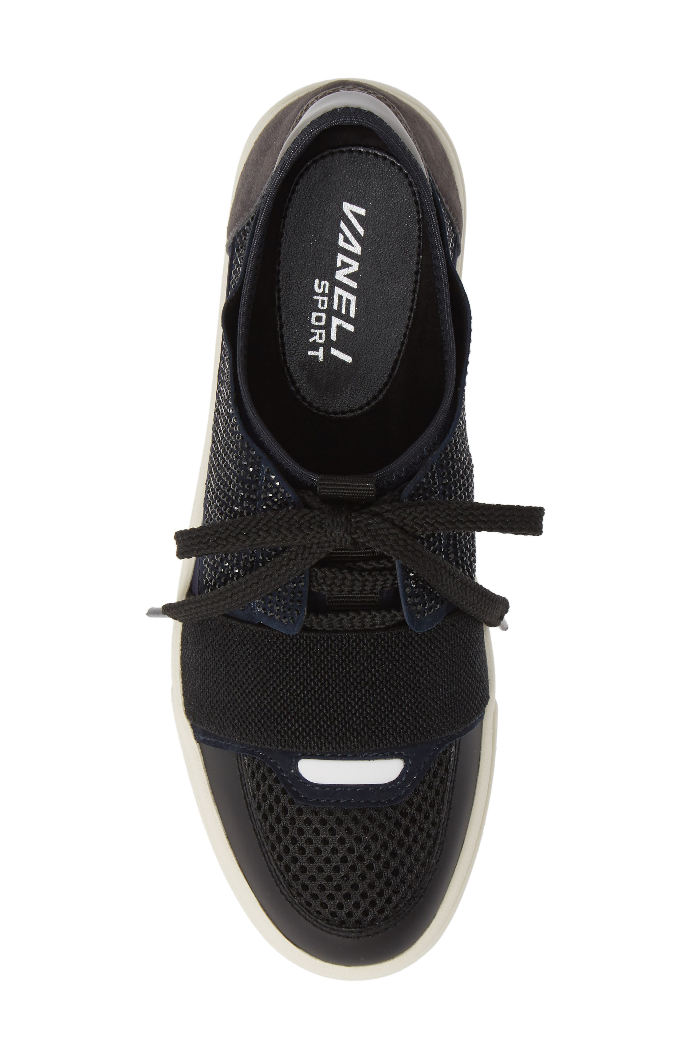 Onella Lace-Up Sneaker,                             Alternate thumbnail 5, color,                             BLACK/ NAVY/ GREY MULTI