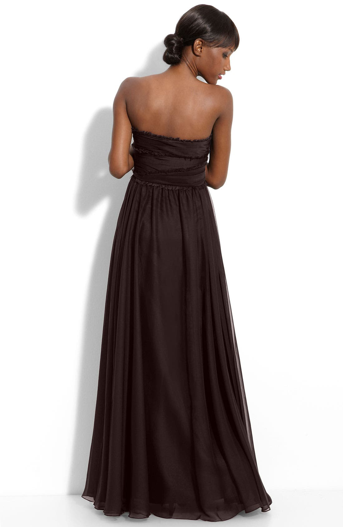 ML Monique Lhuillier Bridesmaids Strapless Chiffon Gown,                             Alternate thumbnail 21, color,