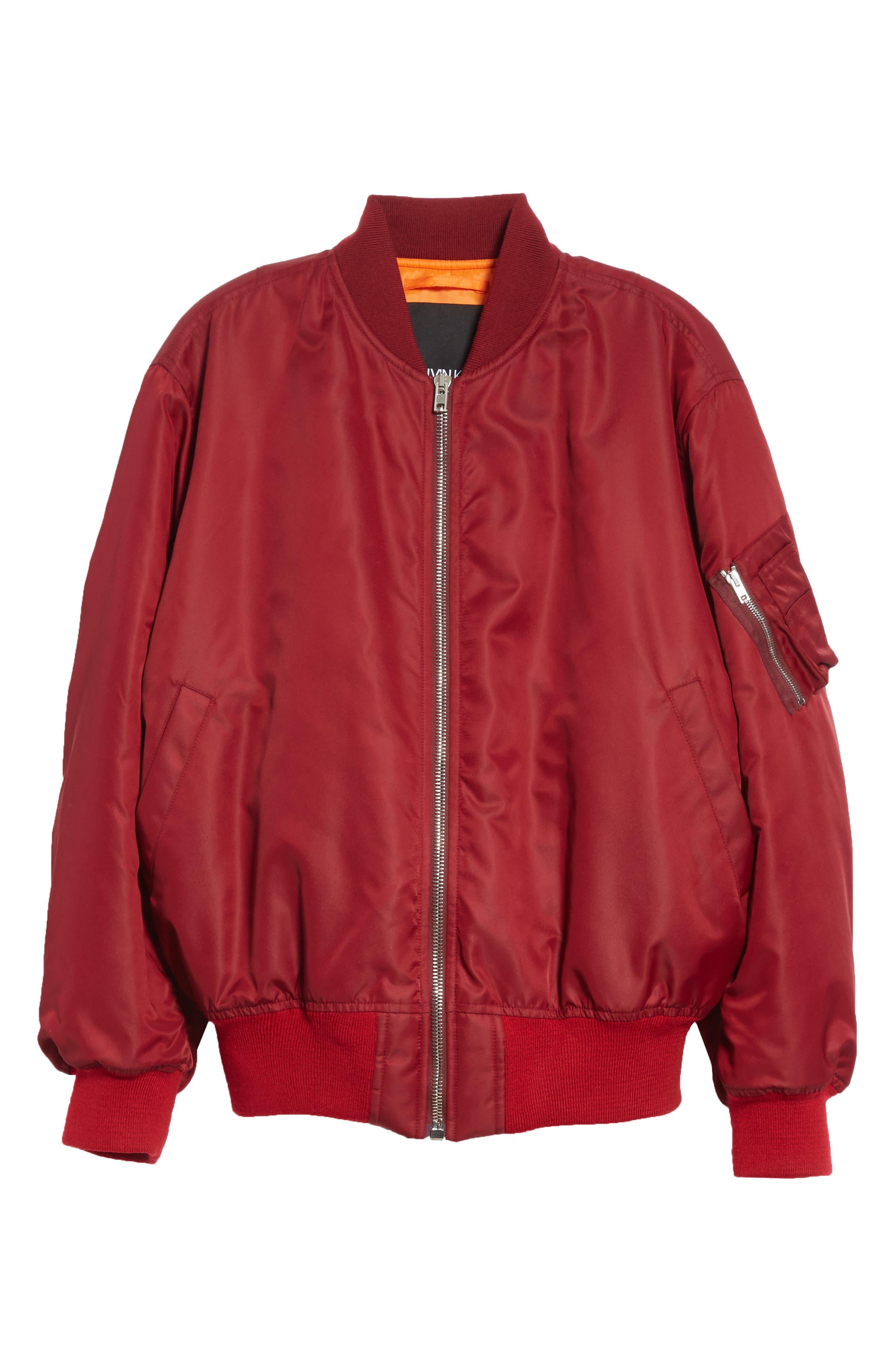Nylon Bomber Jacket,                             Alternate thumbnail 5, color,                             BURGUNDY