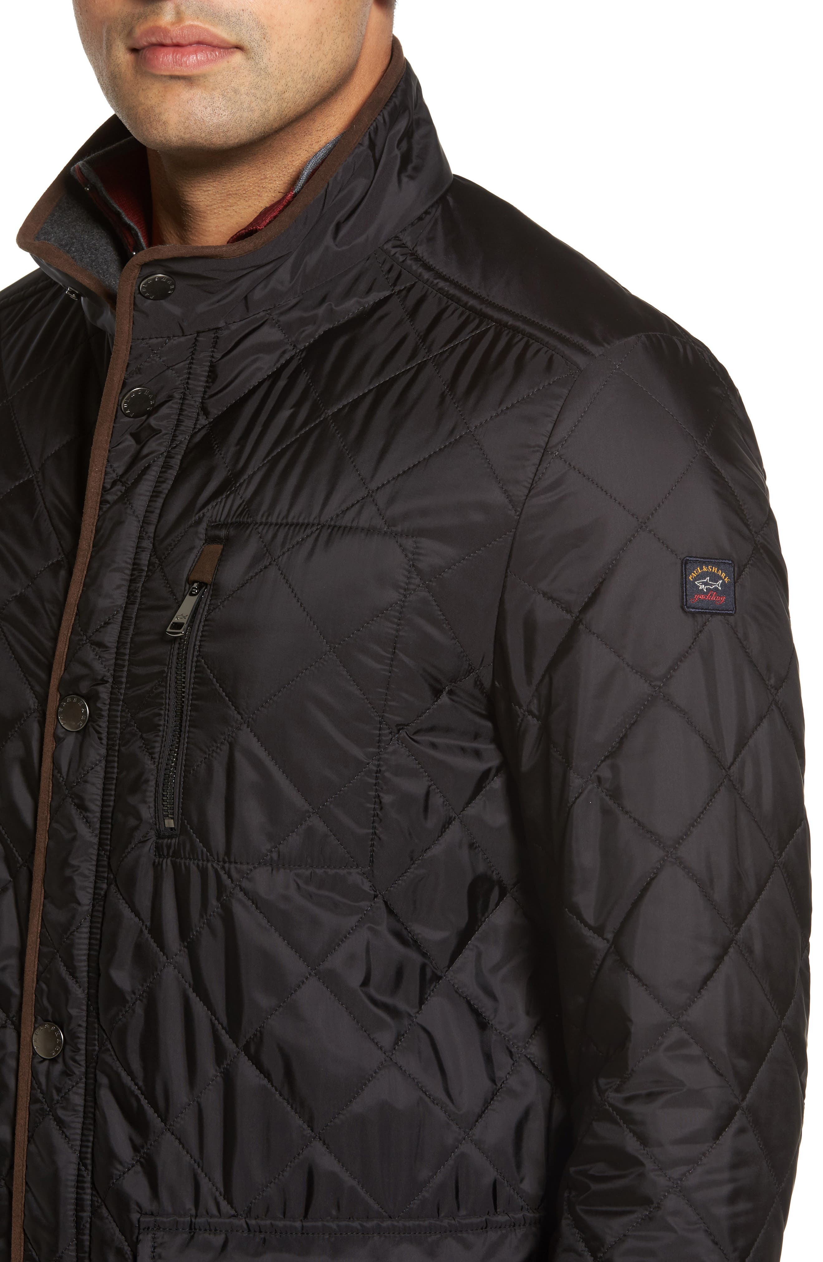Paul&Shark Fleece Lined Quilted Jacket,                             Alternate thumbnail 4, color,                             001