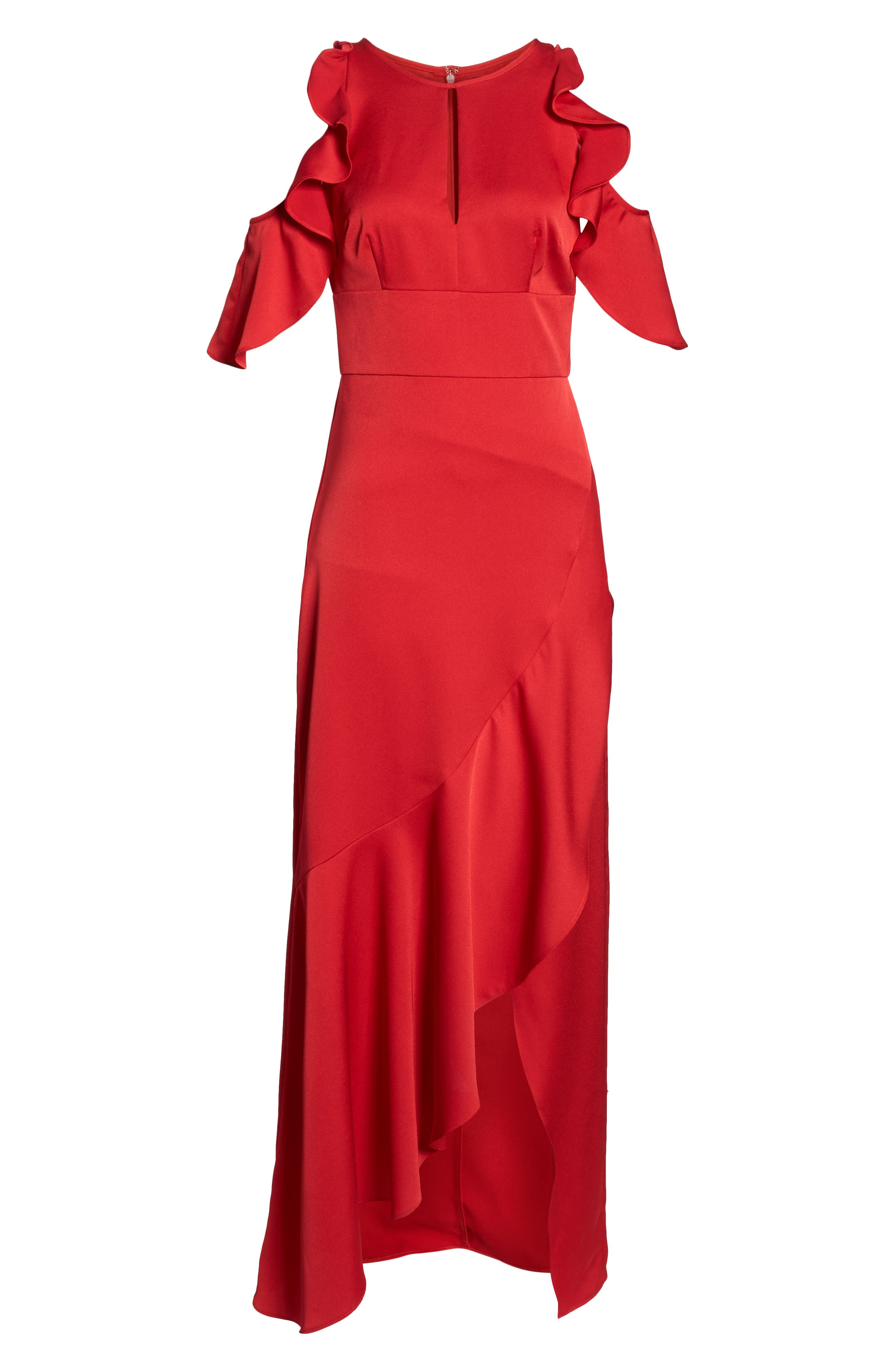 Ruffle Cold Shoulder Gown,                             Alternate thumbnail 7, color,                             RED