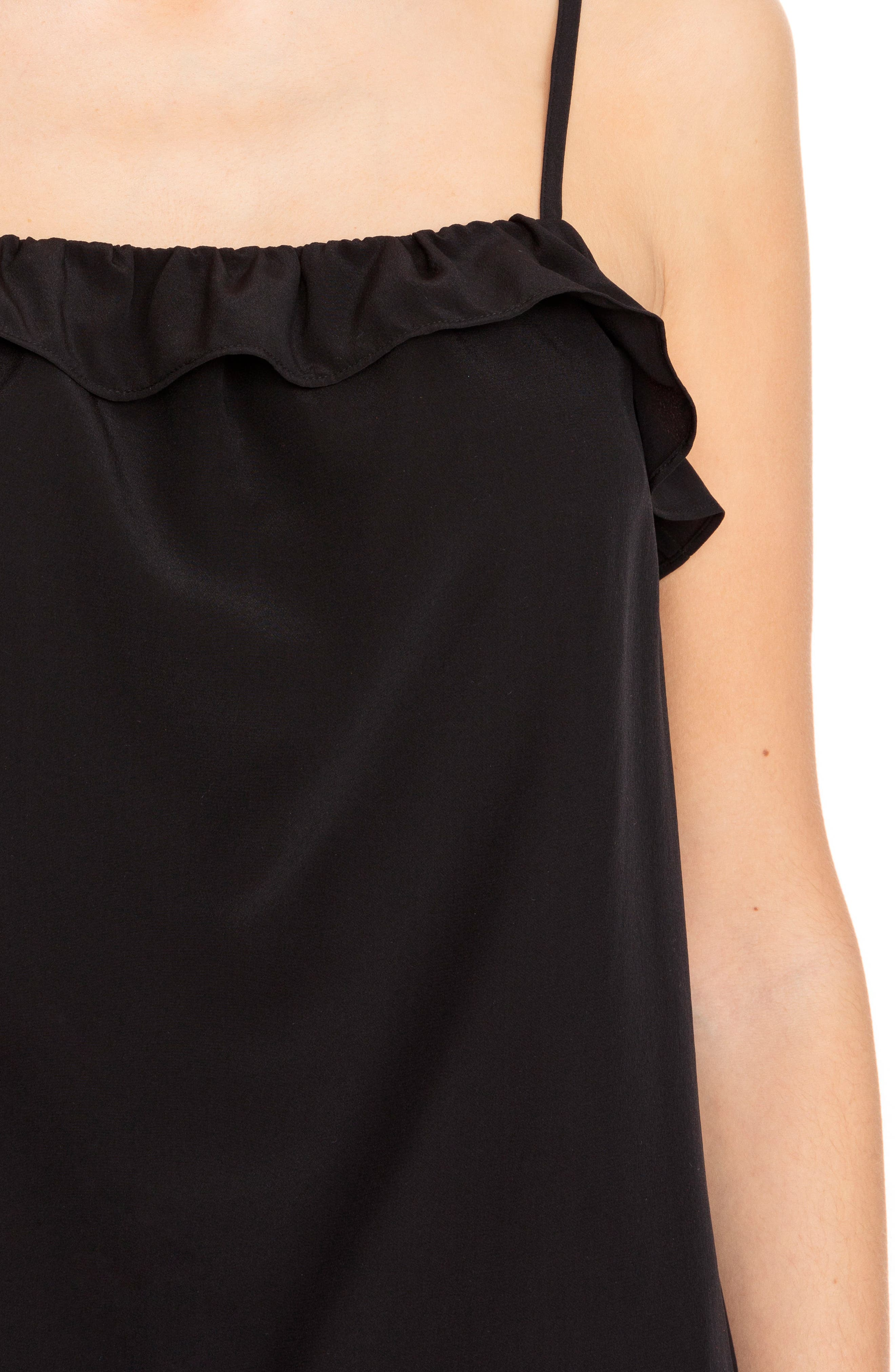Cyrille Ruffle Silk Camisole,                             Alternate thumbnail 4, color,