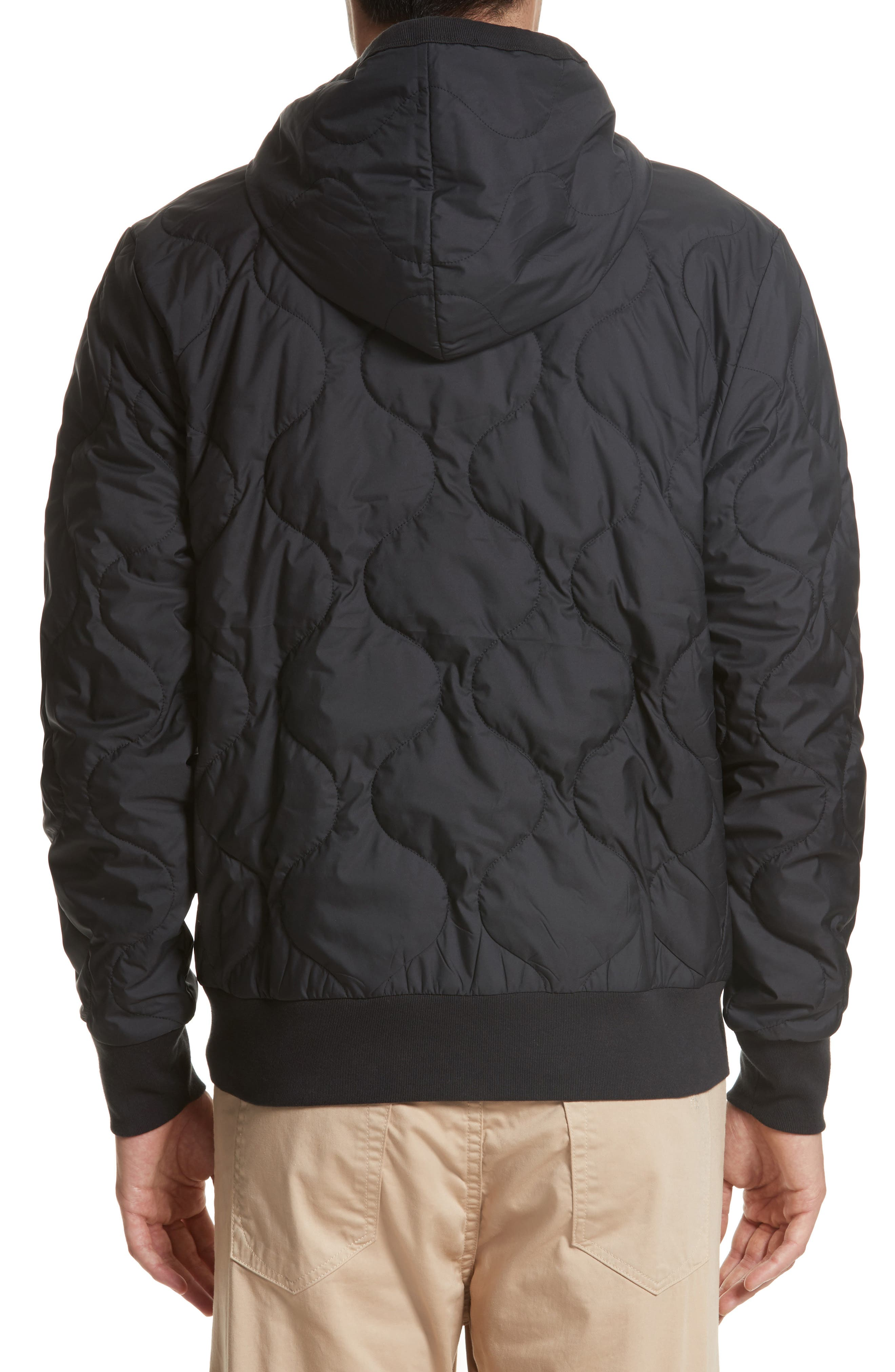 Quilted Zip Hoodie,                             Alternate thumbnail 2, color,                             001