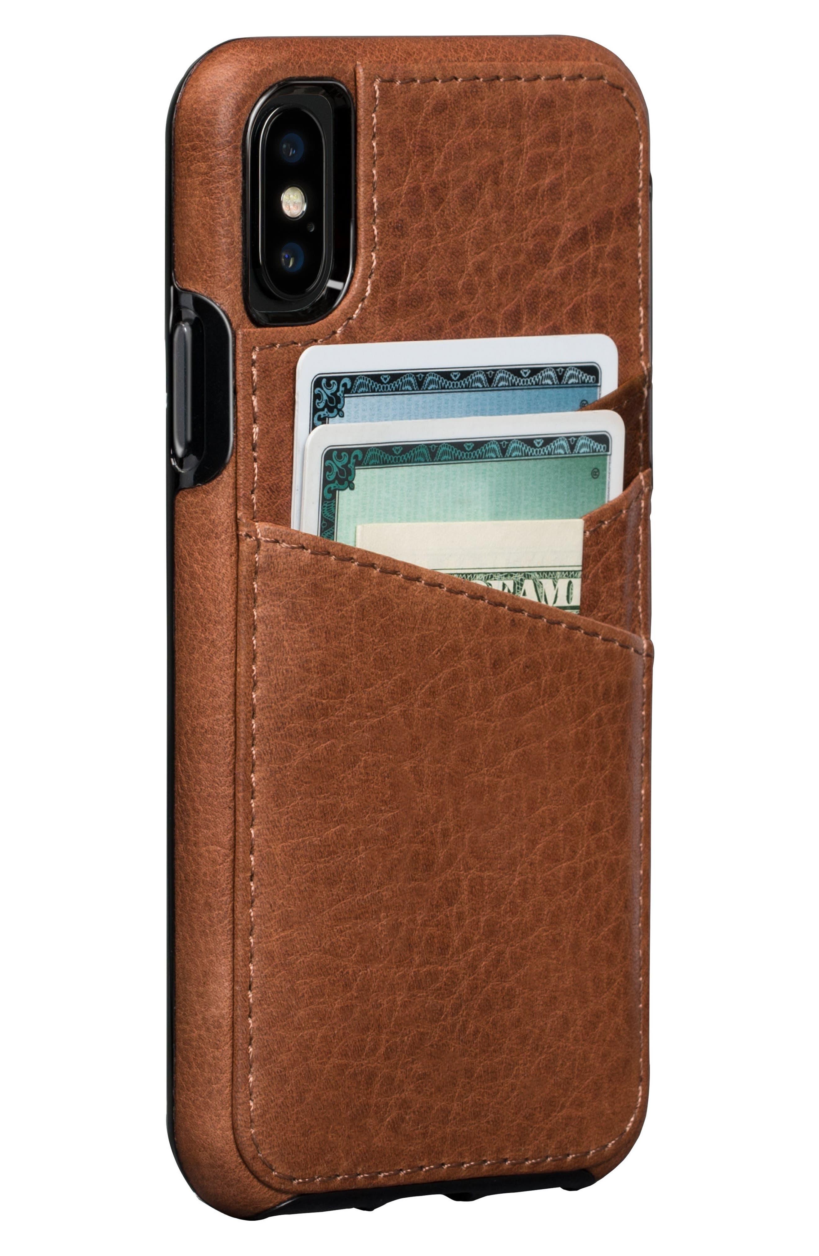 Bence Lugano iPhone X & Xs Wallet Case,                             Main thumbnail 1, color,                             SADDLE