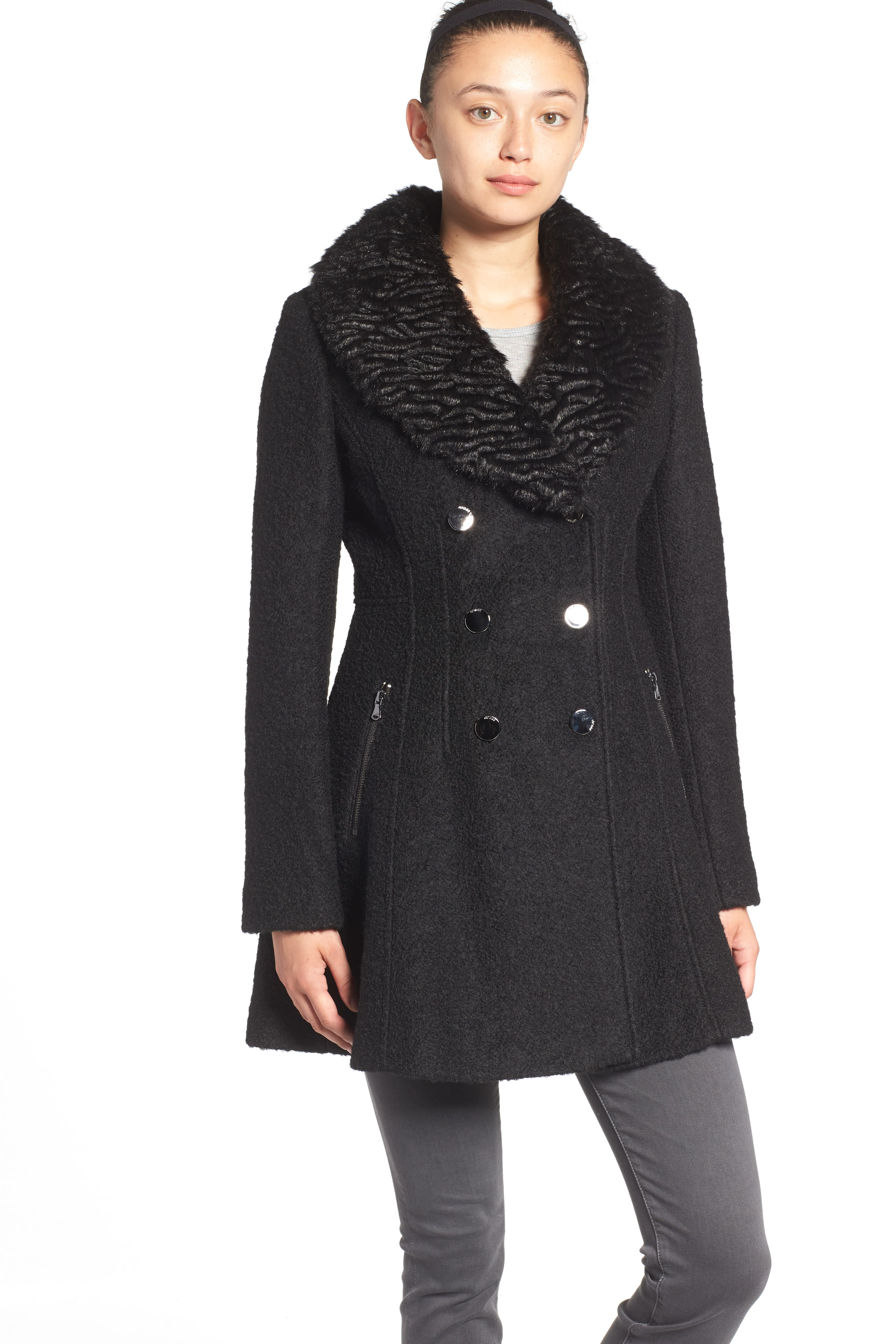 Bouclé Fit & Flare Coat with Faux Fur Collar,                             Alternate thumbnail 5, color,                             001