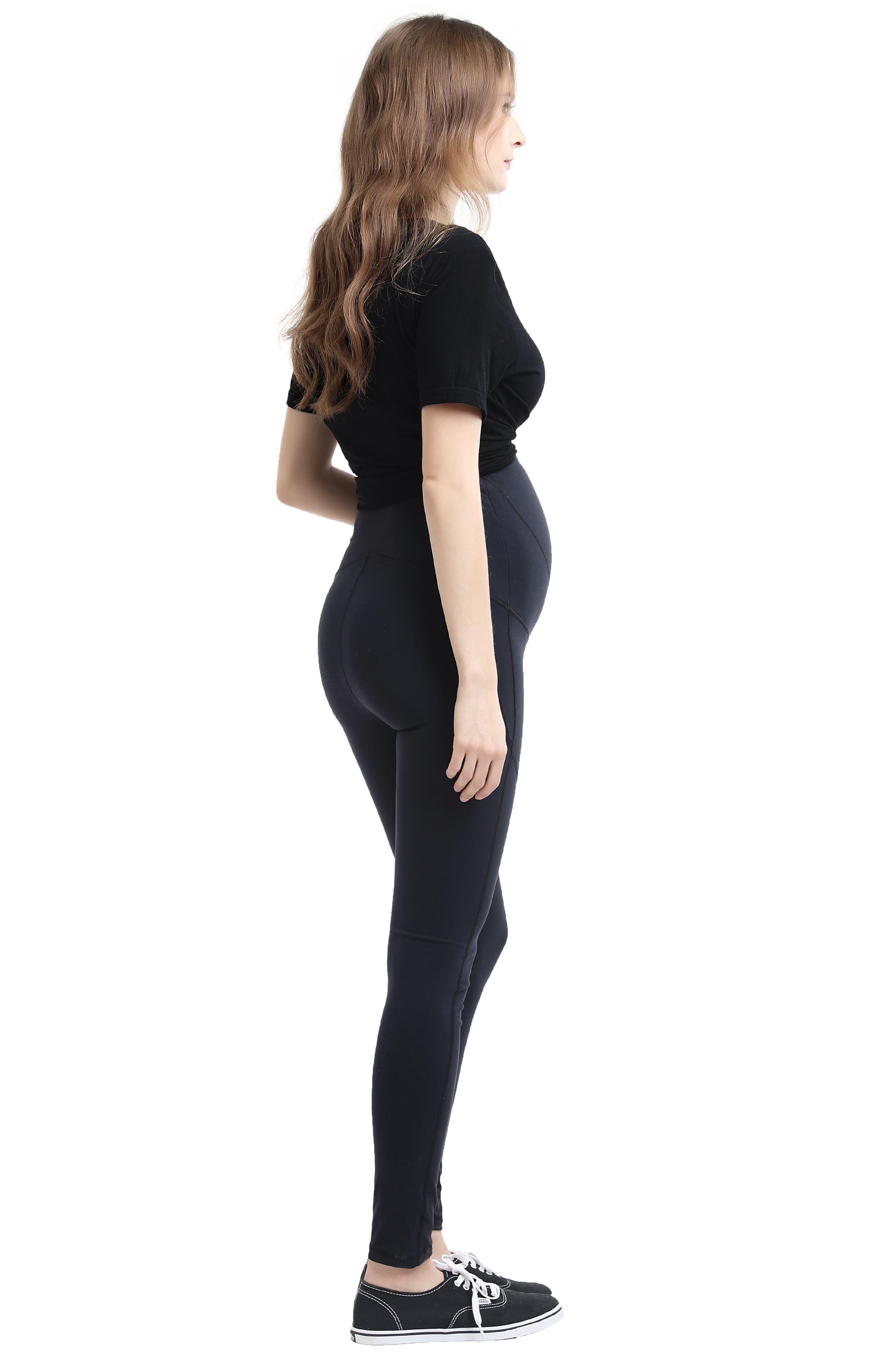 Blair High Performance Full Panel Maternity Leggings,                             Alternate thumbnail 4, color,                             BLACK
