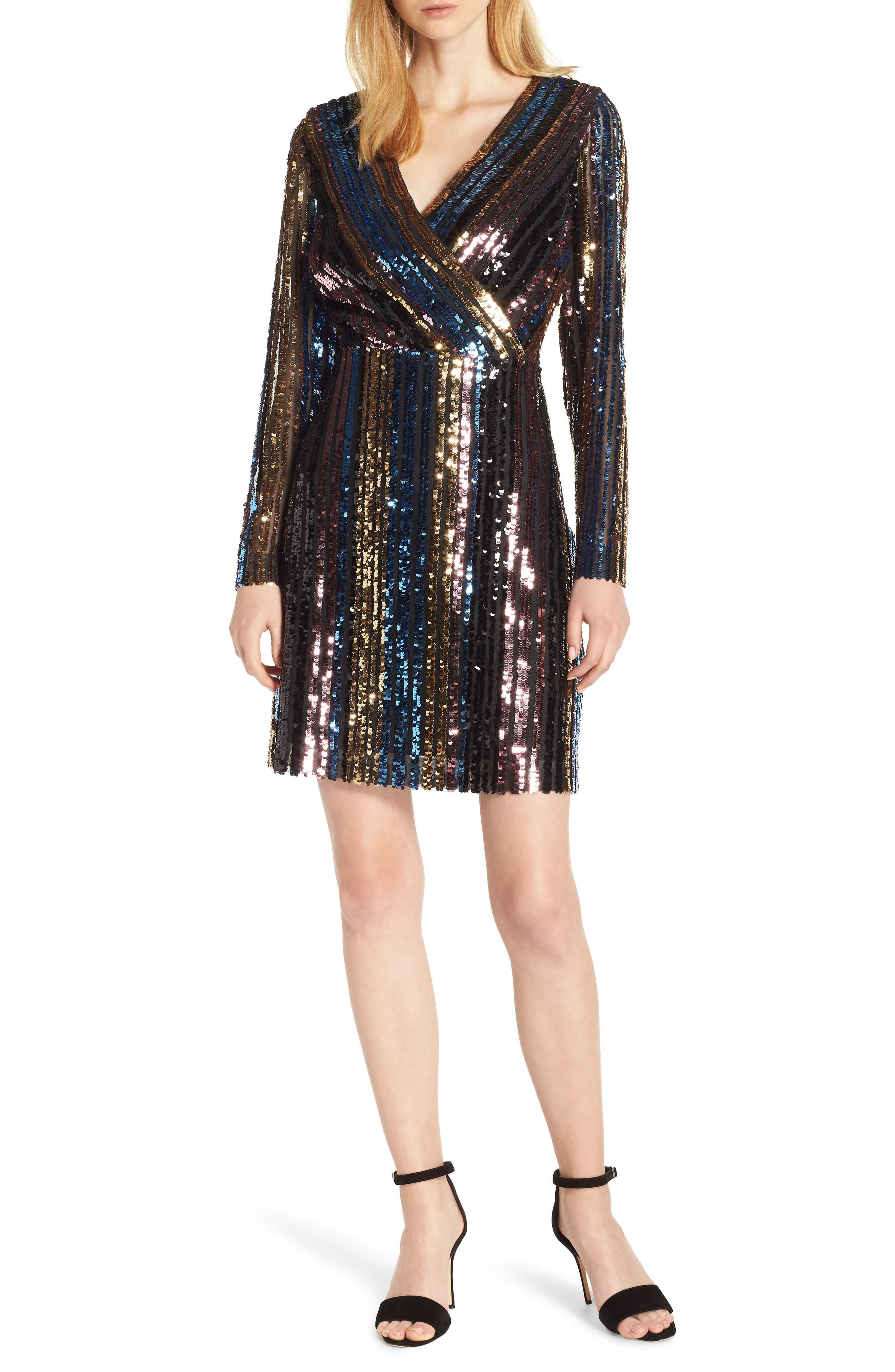 Sam Edleman Rainbow Stripe Sequin Wrap Front Dress,                         Main,                         color, RAINBOW