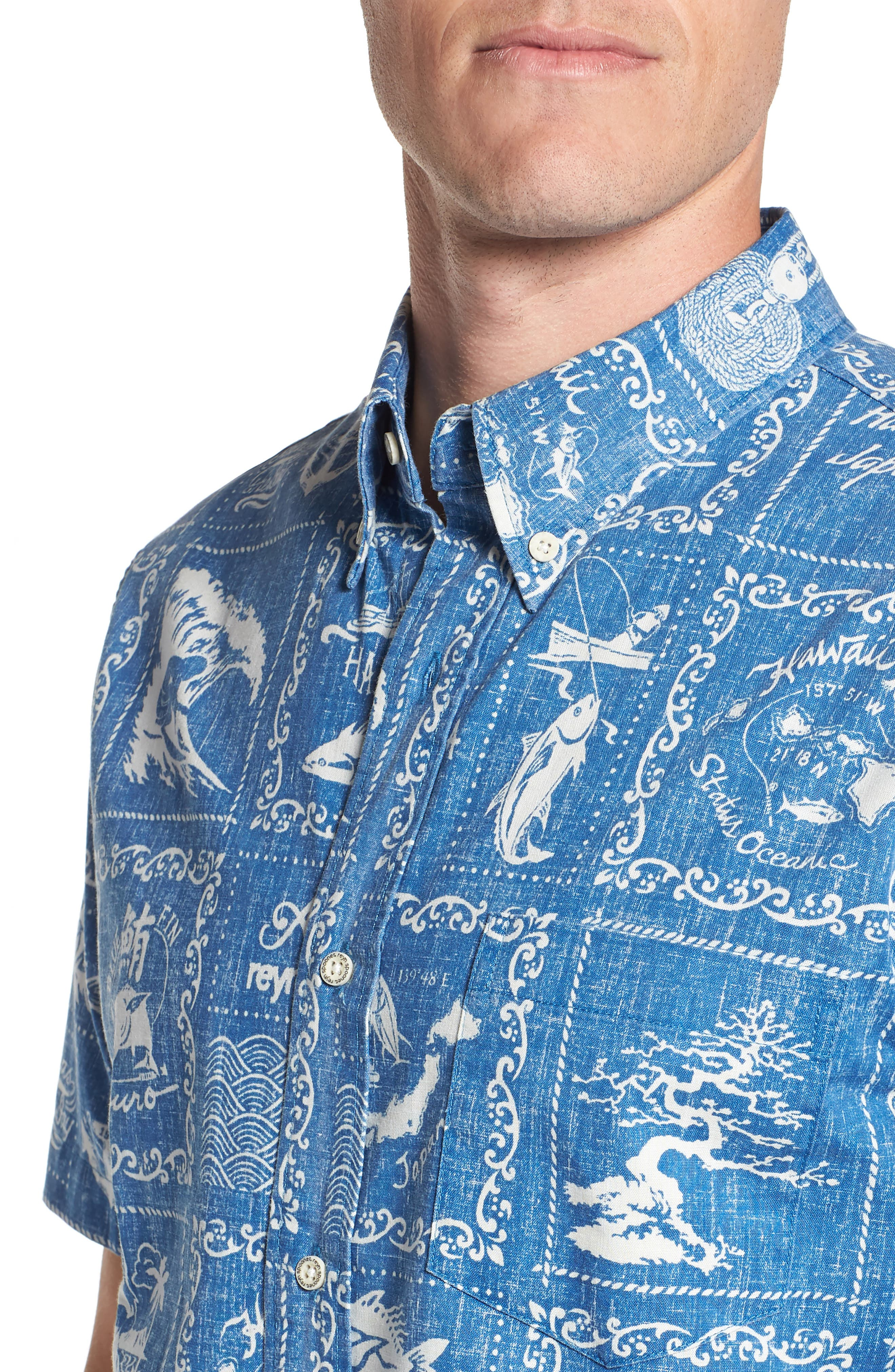 Stories from the East Regular Fit Sport Shirt,                             Alternate thumbnail 4, color,                             MARINE