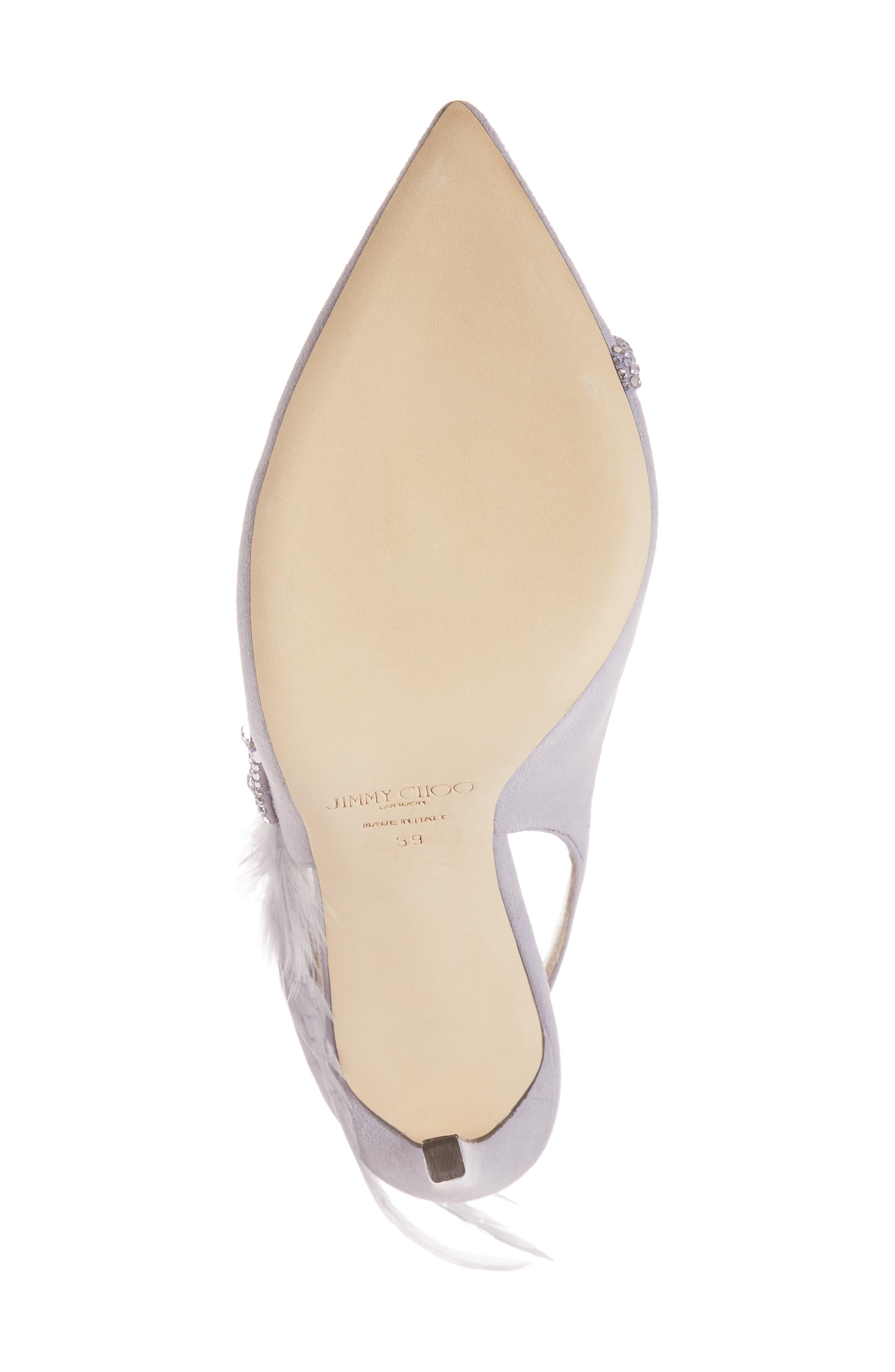 Tacey Crystal & Feather Embellished Slingback Sandal,                             Alternate thumbnail 6, color,                             530