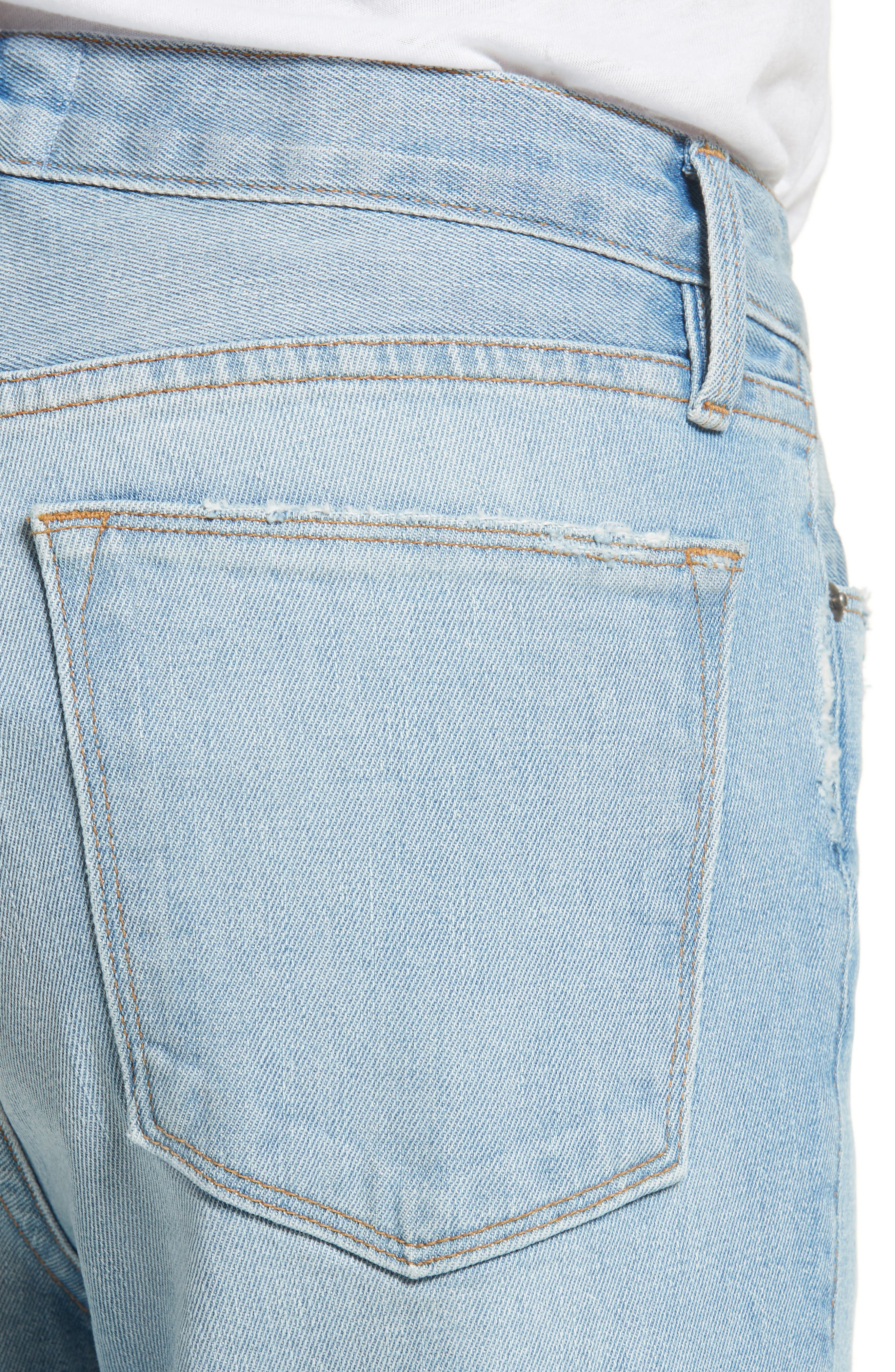 Le High Straight Leg Cuffed Jeans,                             Alternate thumbnail 4, color,                             450