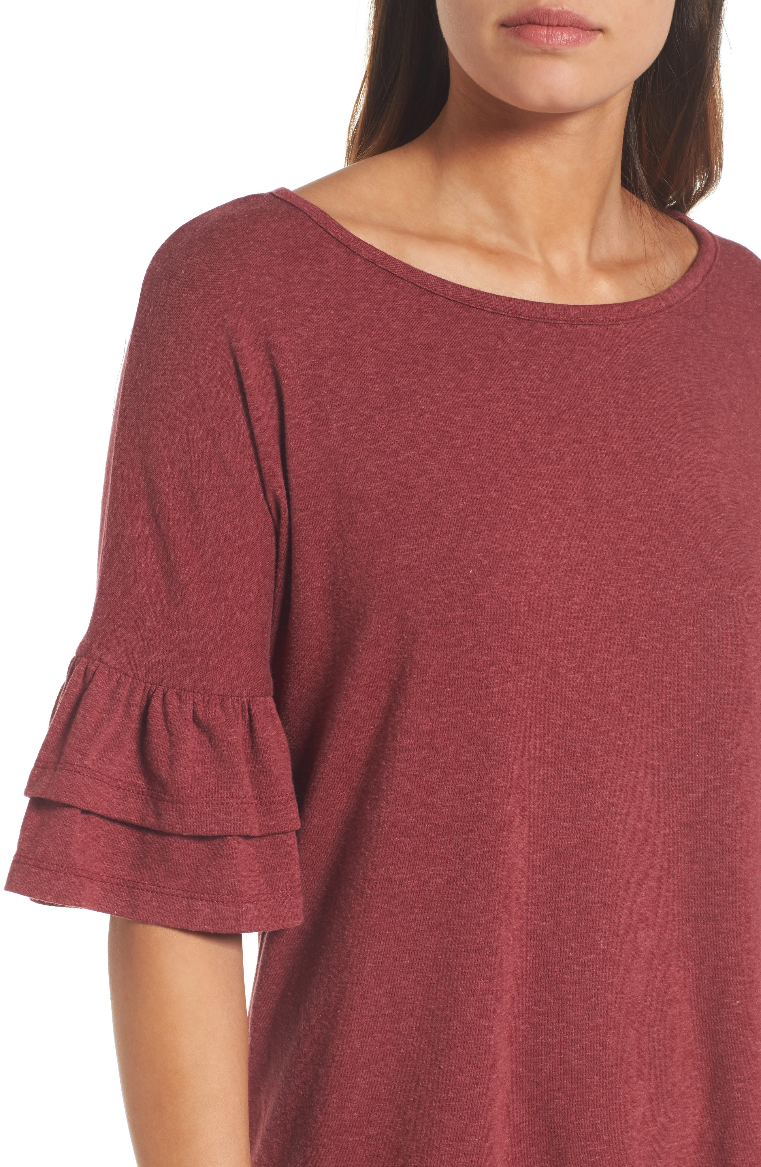 Tiered Bell Sleeve Tee,                             Alternate thumbnail 4, color,                             600