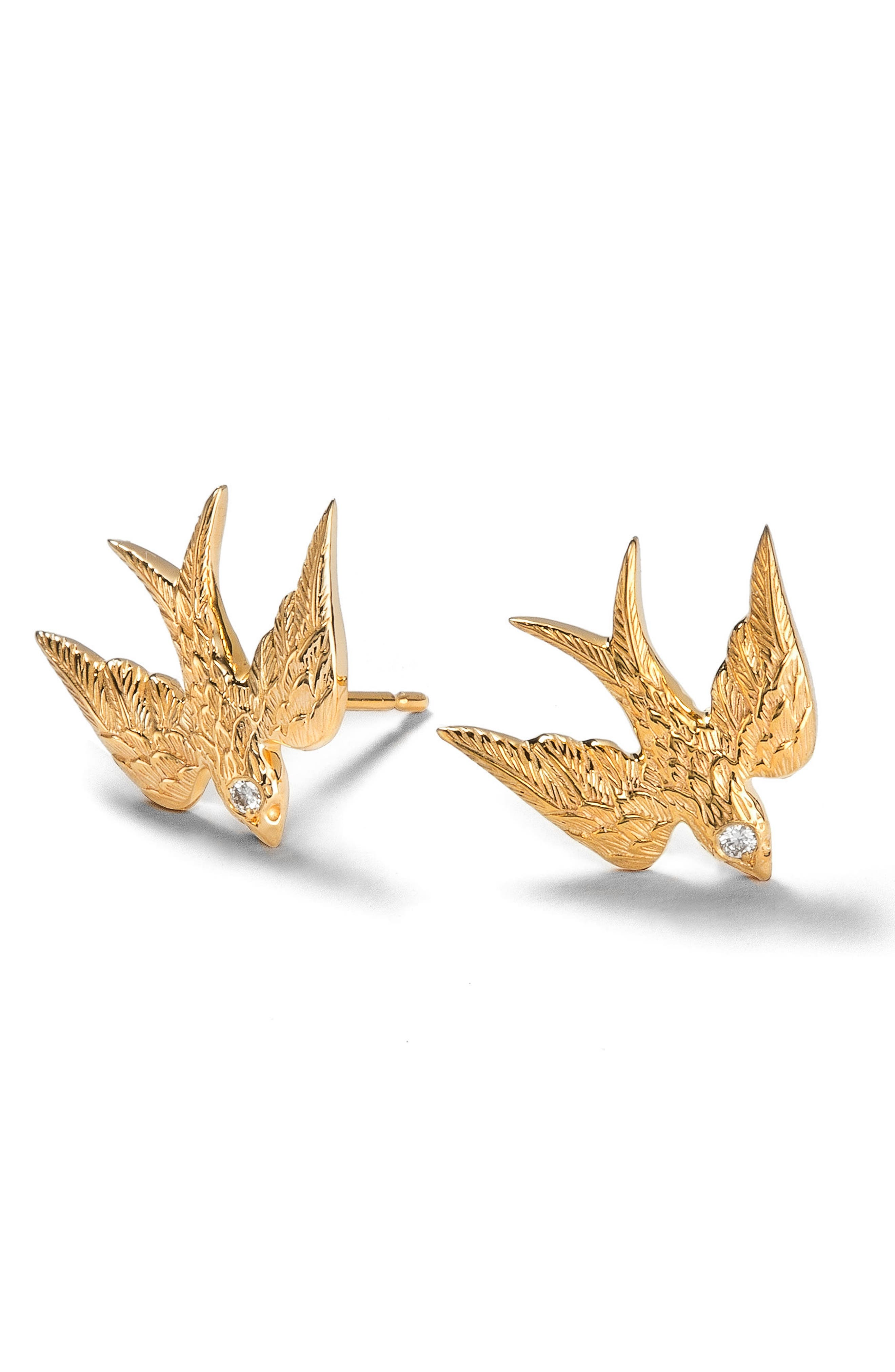 Feathered Diamond Swallow Stud Earrings,                             Main thumbnail 1, color,                             YELLOW GOLD