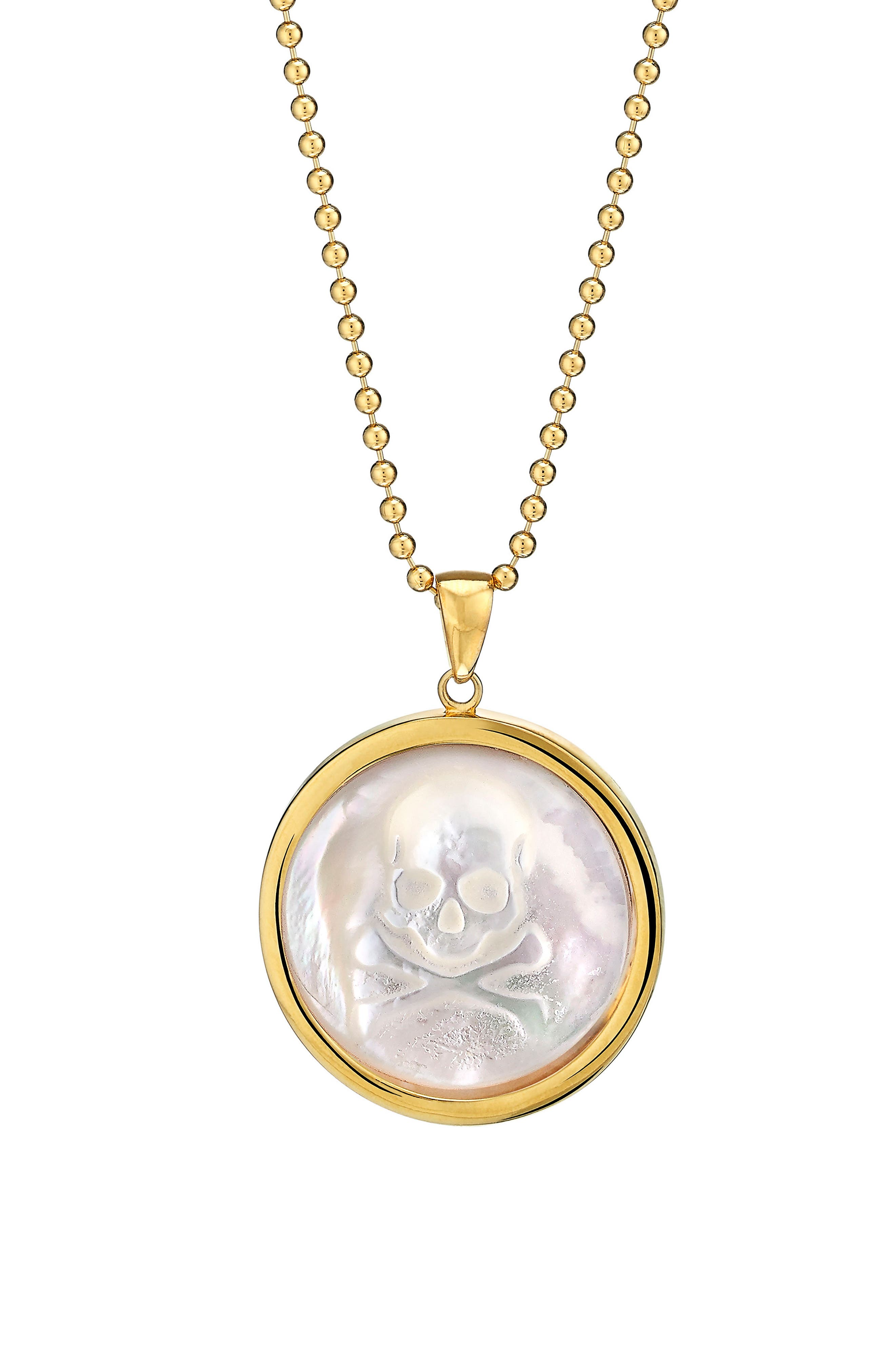 Skull Long Mother-of-Pearl Pendant Necklace,                             Main thumbnail 1, color,                             GOLD - MOTHER OF PEARL