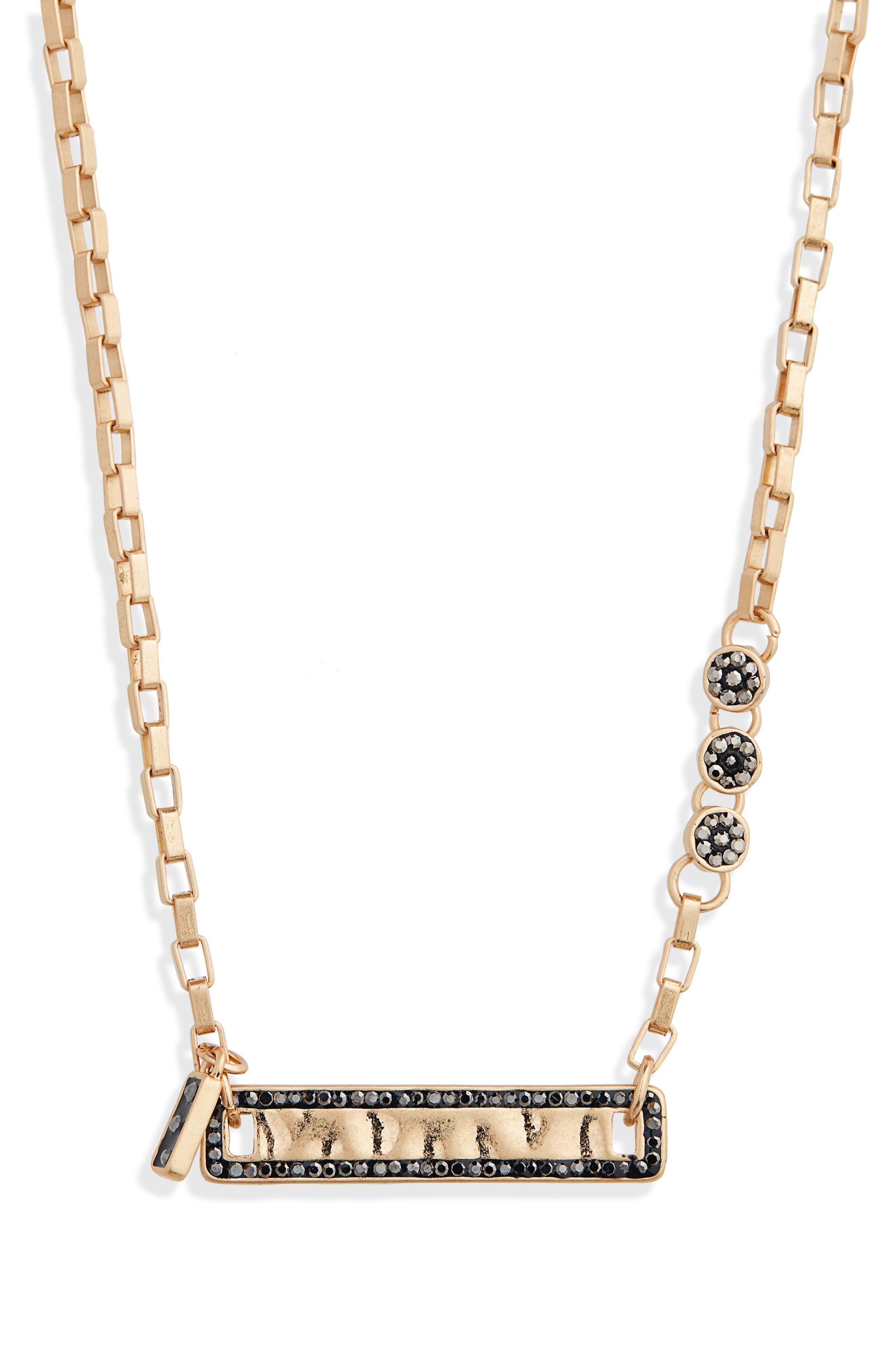 Crystal Embellished Bar Necklace,                             Main thumbnail 1, color,                             BLACK DIAMOND/ GOLD