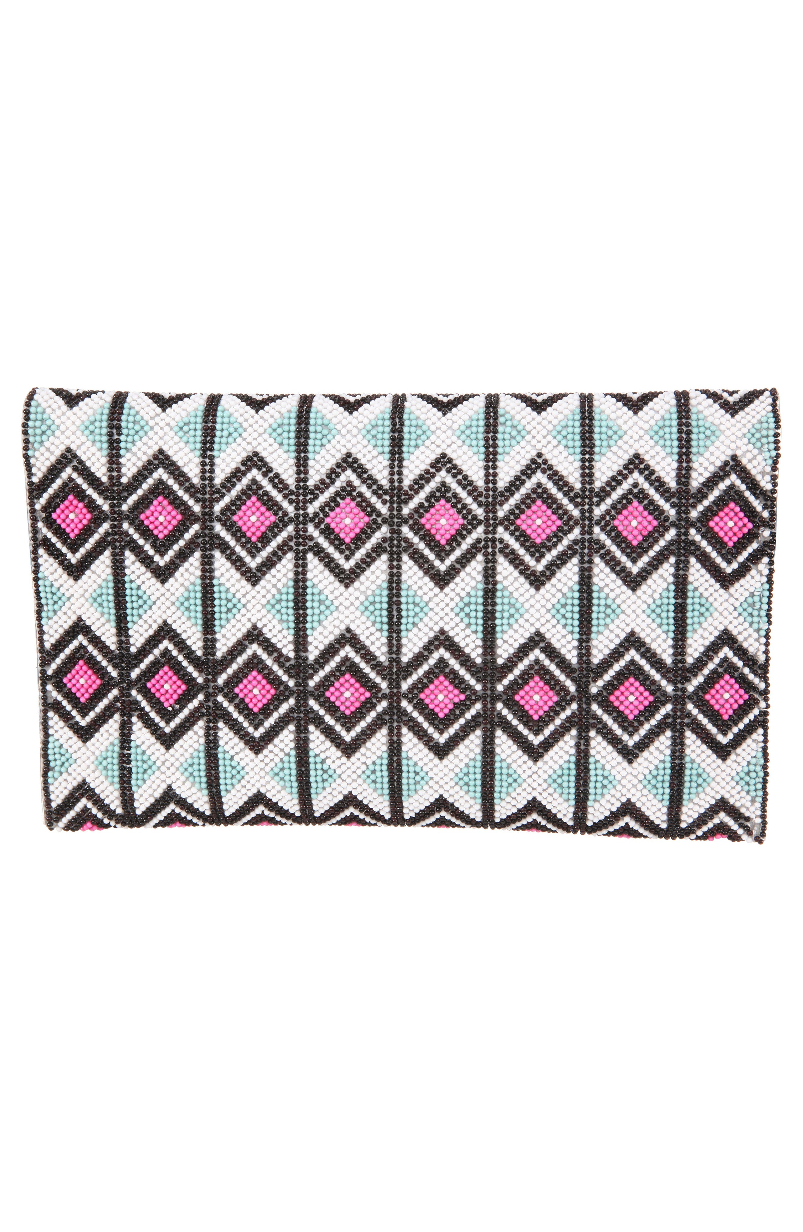 Geometric Beaded Clutch,                             Alternate thumbnail 2, color,                             BLACK MULTI