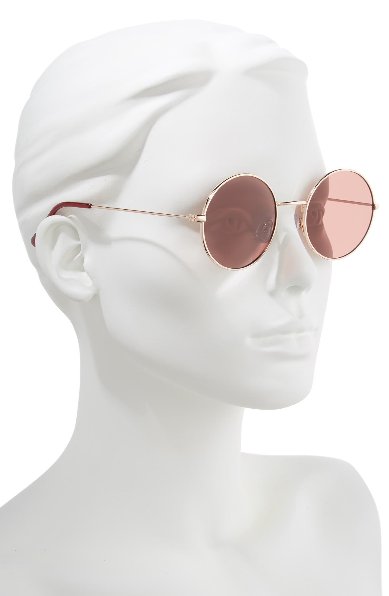 53mm Flat Round Sunglasses,                             Alternate thumbnail 2, color,                             GOLD/ BROWN